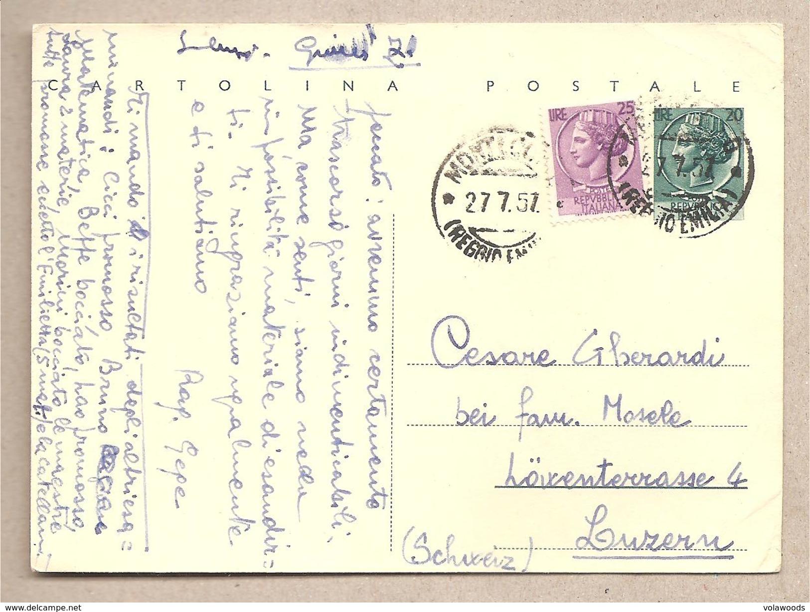 "Italia - Cartolina Postale  ""siracusana Testo Lungo"" Usata Per L'estero - 1954 - Stamped Stationery"