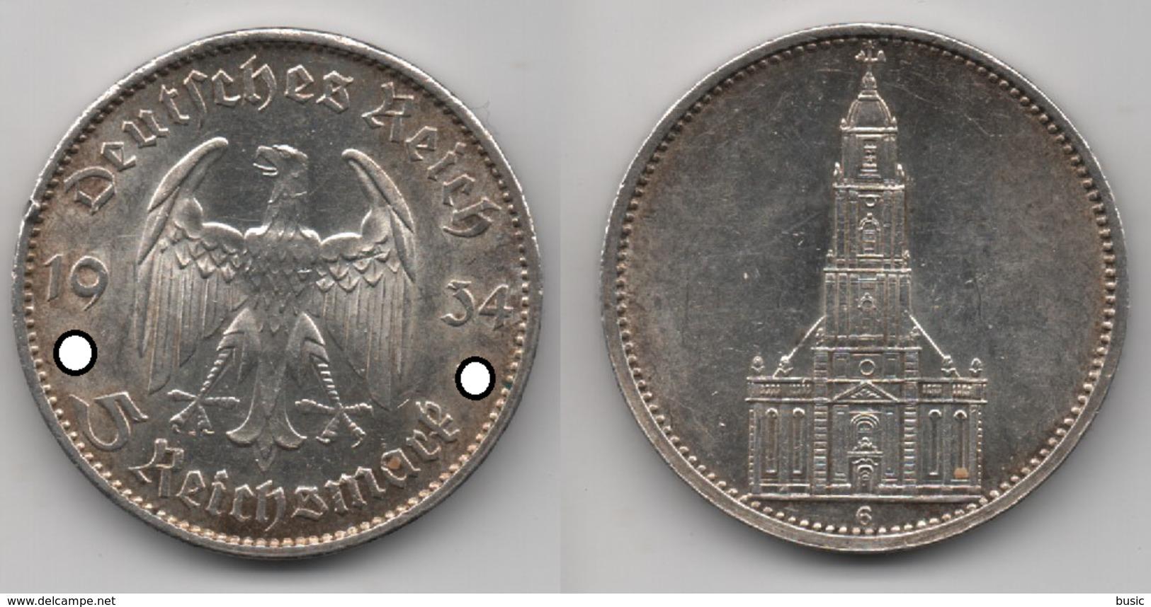 + ALLEMAGNE + 5 MARK 1934 G + - 5 Reichsmark