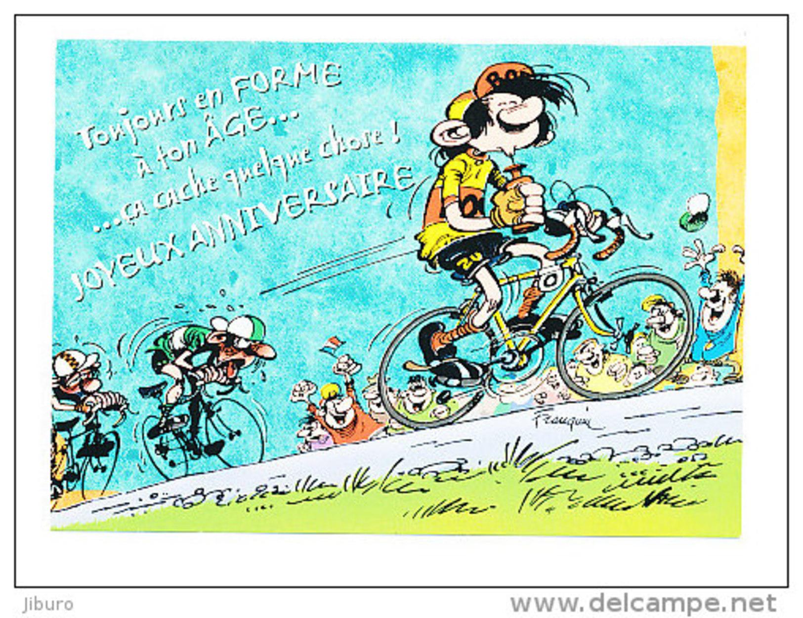 Bandes Dessinees Gaston Lagaffe Joyeux Anniversaire Humour Velo Cyclisme Course Cycliste Bicyclette Bicycle Humor Sport Cp 8 695