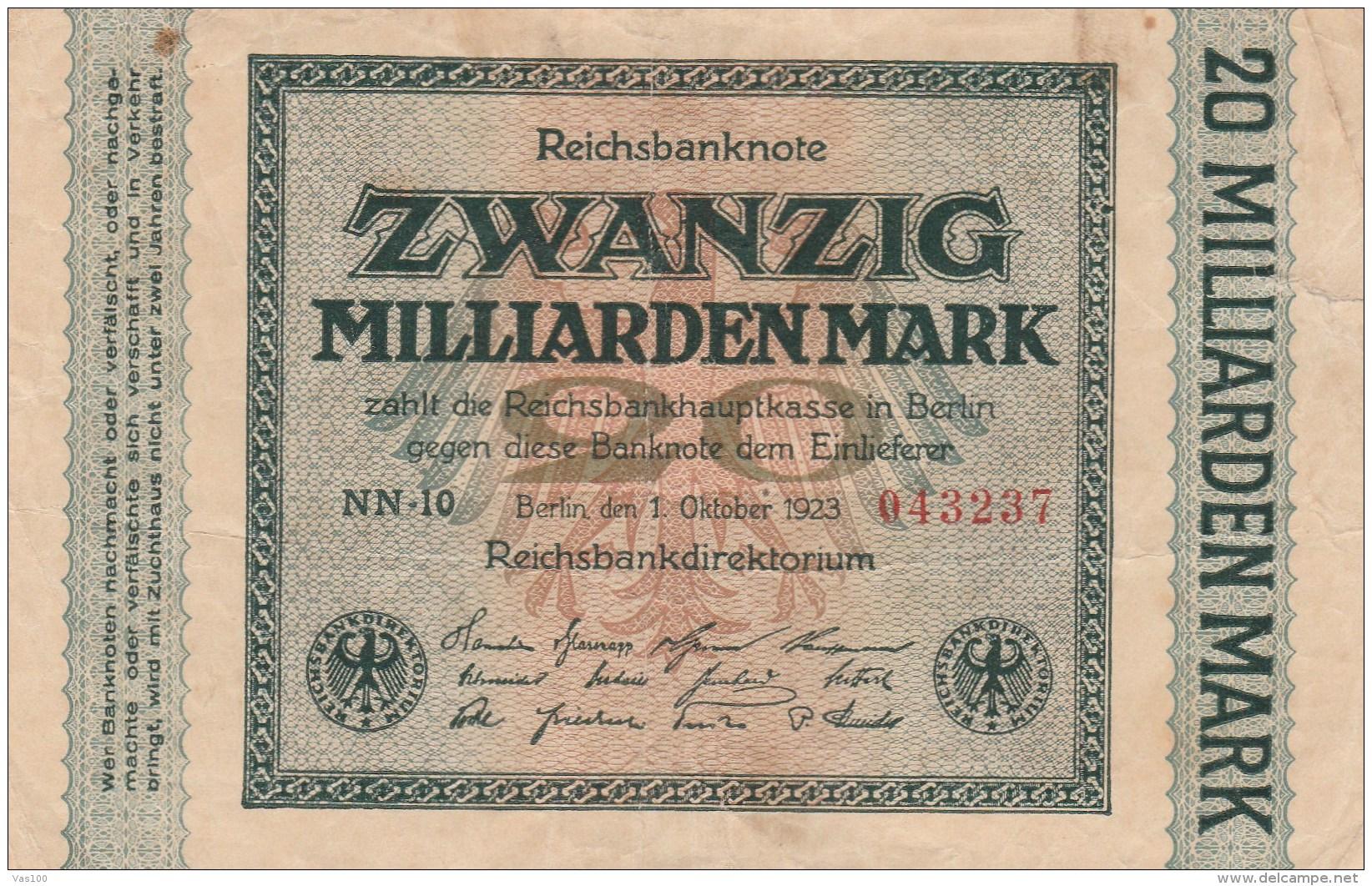 20 MILLIARDEN MARK, REICHSBANKNOTE, 1923, PAPER BANKNOTE, GERMANY. - 20 Milliarden Mark