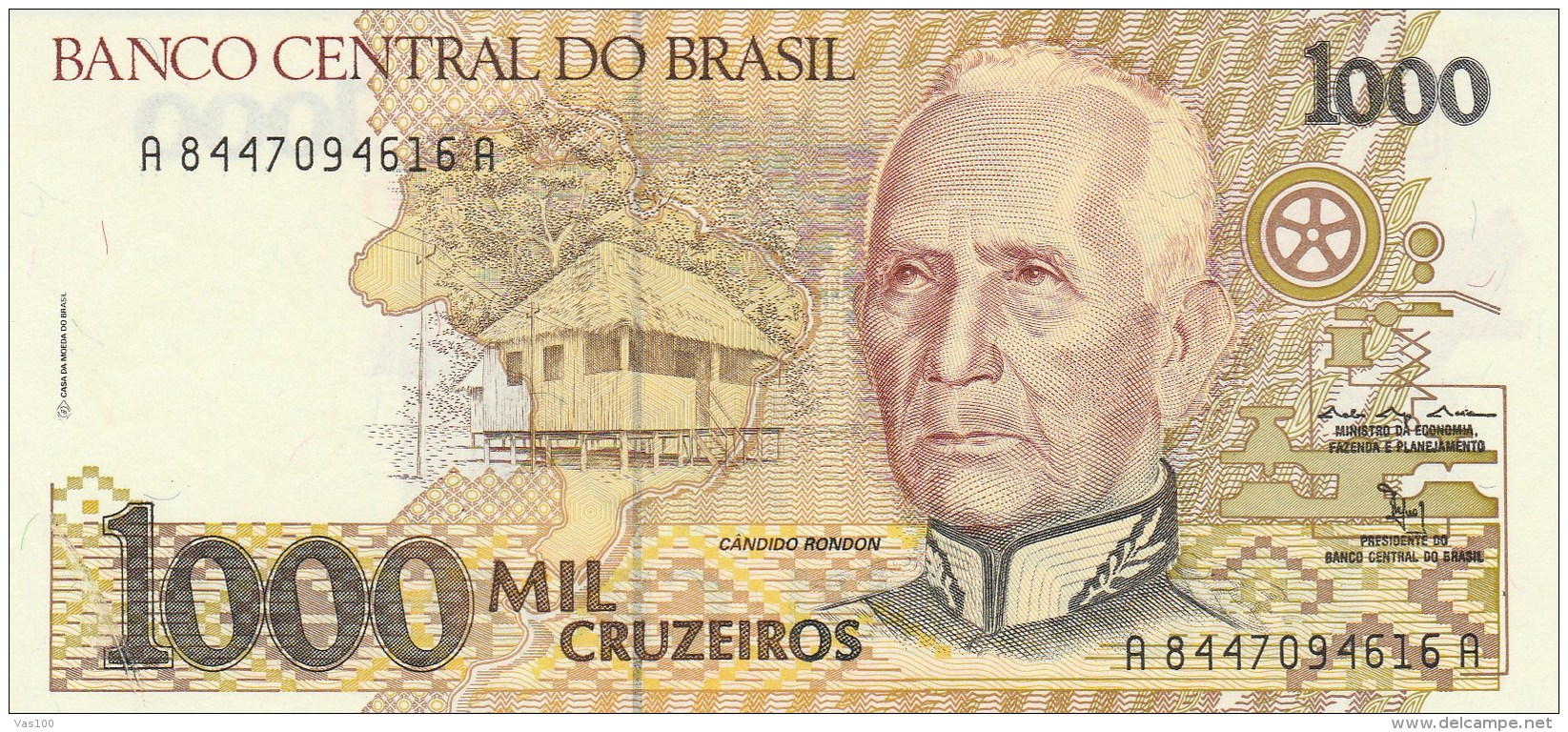 BRAZIL BRASIL Paper Money 1 on 1000 Cruzeiros UNC
