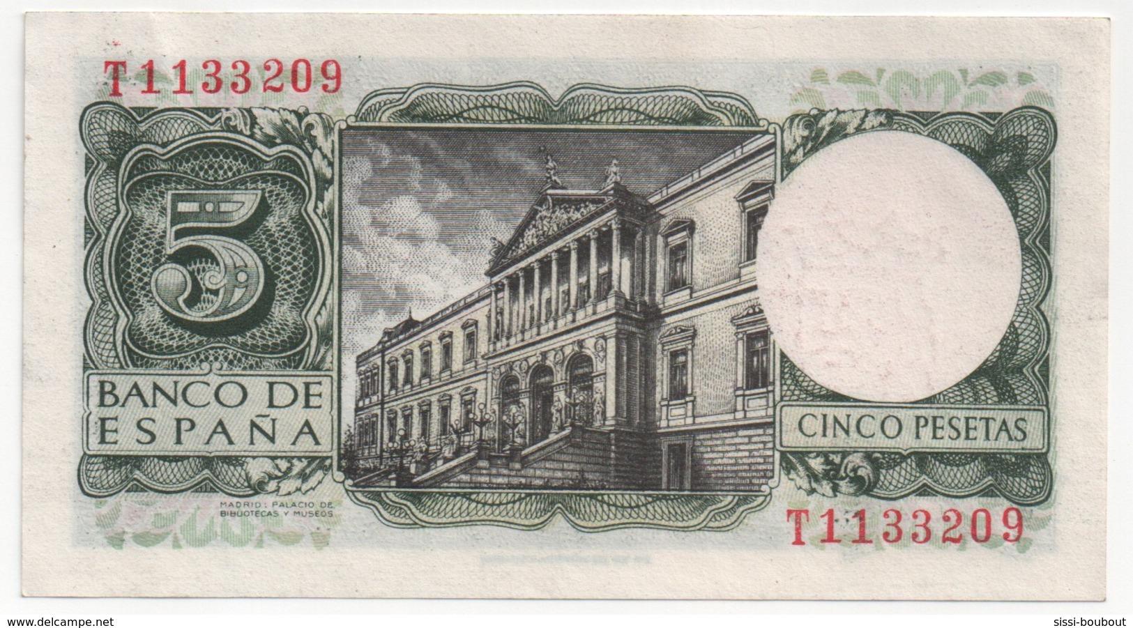 Billet De Banque ESPAGNE - 5 Pesetas De 1954  - NEUF - Sans Pliure, Tâche, Trou... - [ 3] 1936-1975 : Régence De Franco