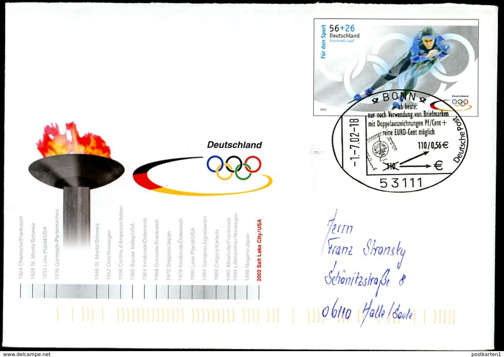 Sost. EURO-BRIEFMARKEN Bonn 2002 Auf Bund Sonder-Umschlag USo34 - European Ideas