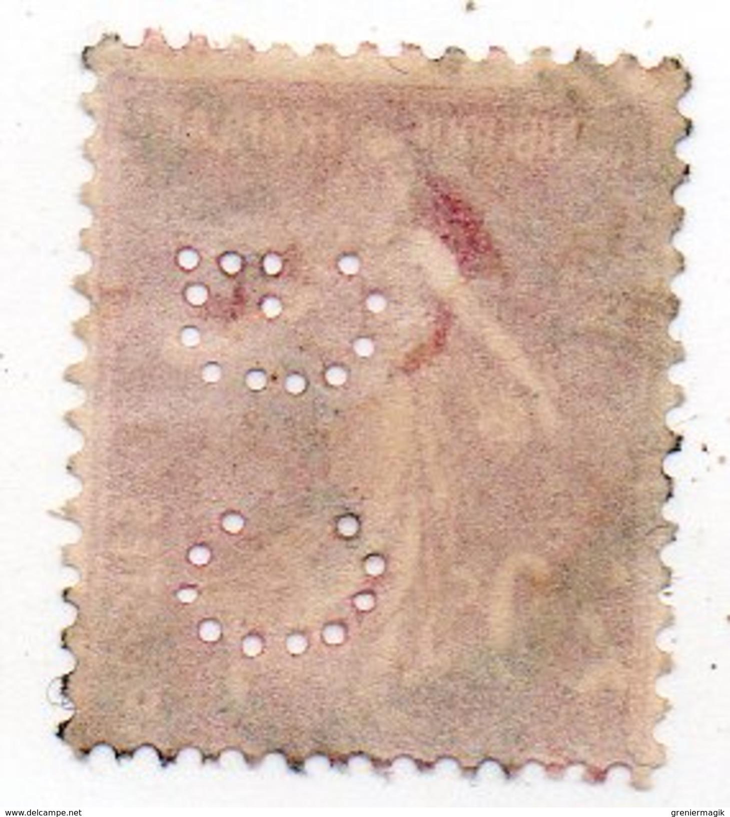 France - N°190 - 20c Semeuse Perforé C G - Piquage Décalé Signature En Haut - CG Perfin - Francia