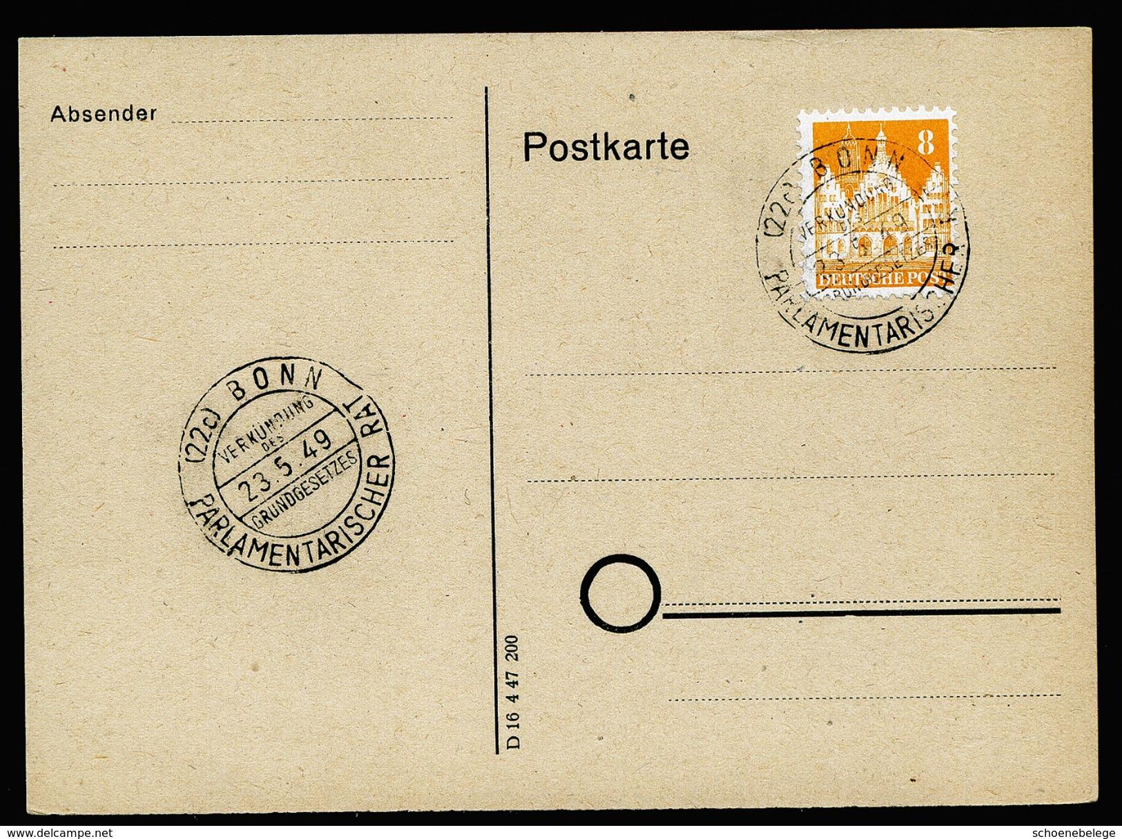 A4339) Bizone Karte Mit 8 Pfg. Bauten Und Seltenem Sonderstempel Bonn 23.5.49 - Bizone