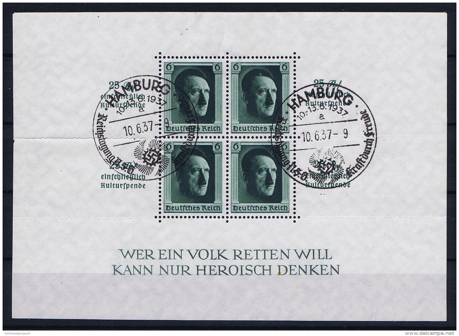 Reich: Mi Block Nr 9 Used Obl Stempel Hamburg - Blocks & Kleinbögen