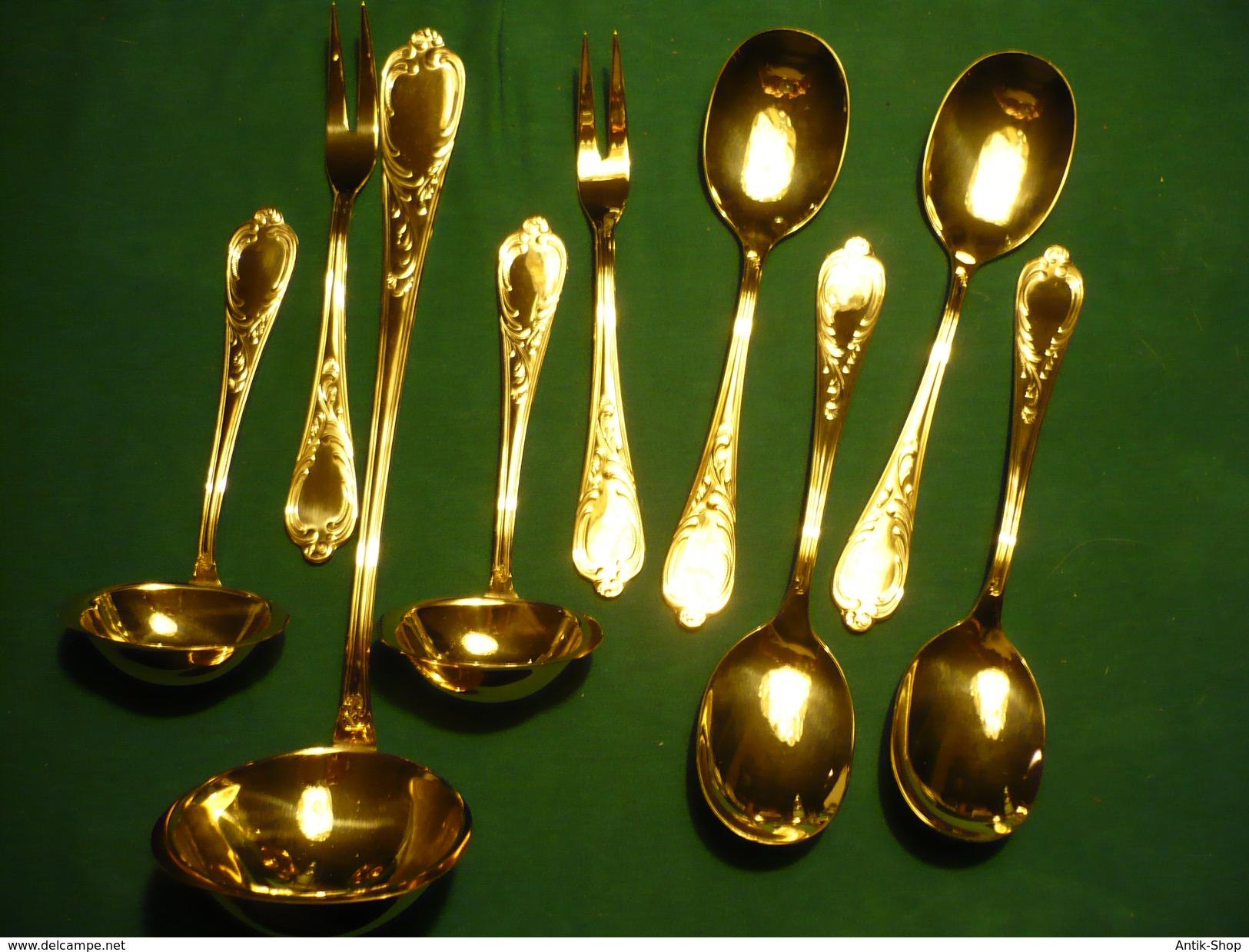 9 Teile Besteck Hart Vergoldet  (358) - Knives