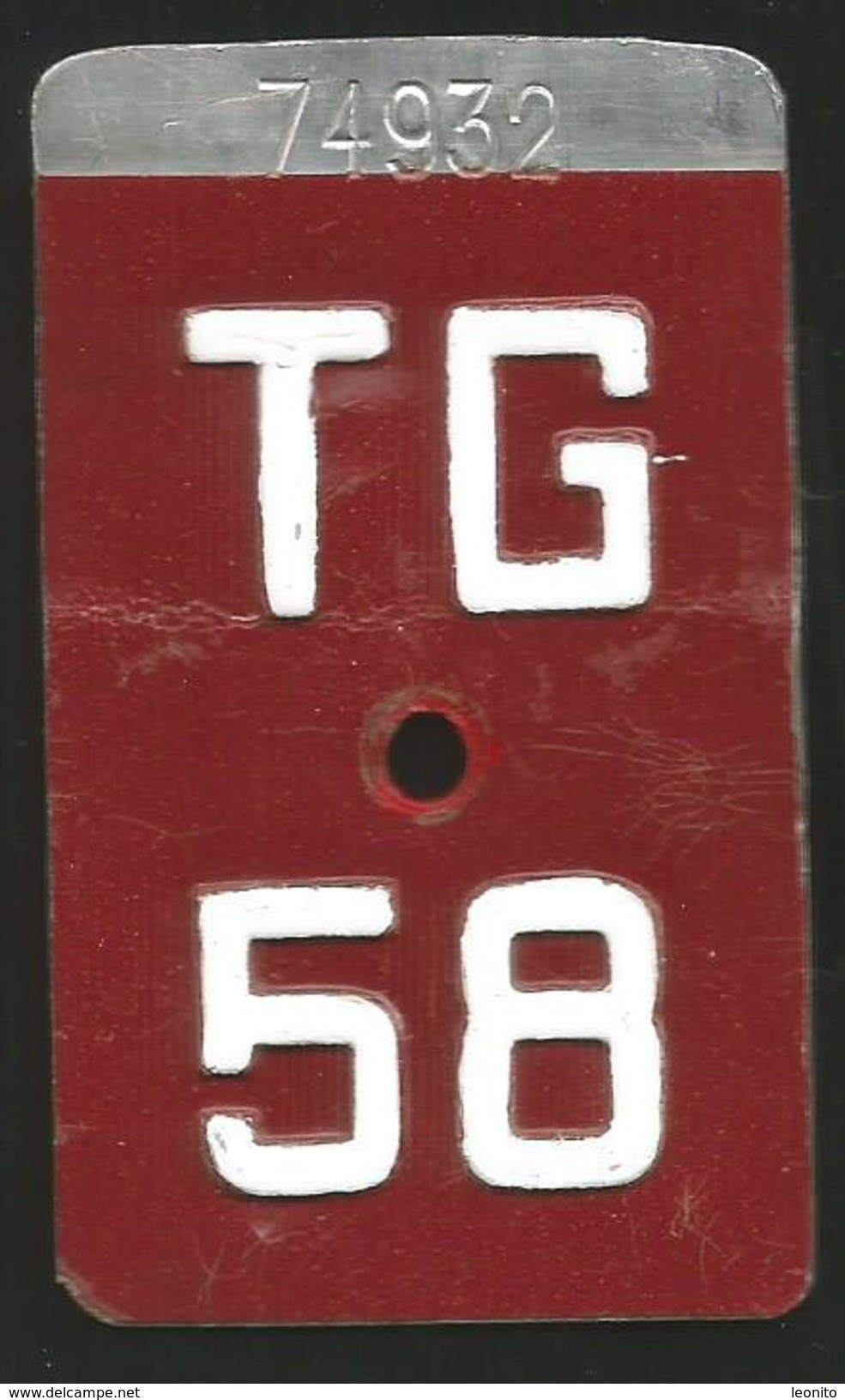 Velonummer Thurgau TG 58 - Plaques D'immatriculation