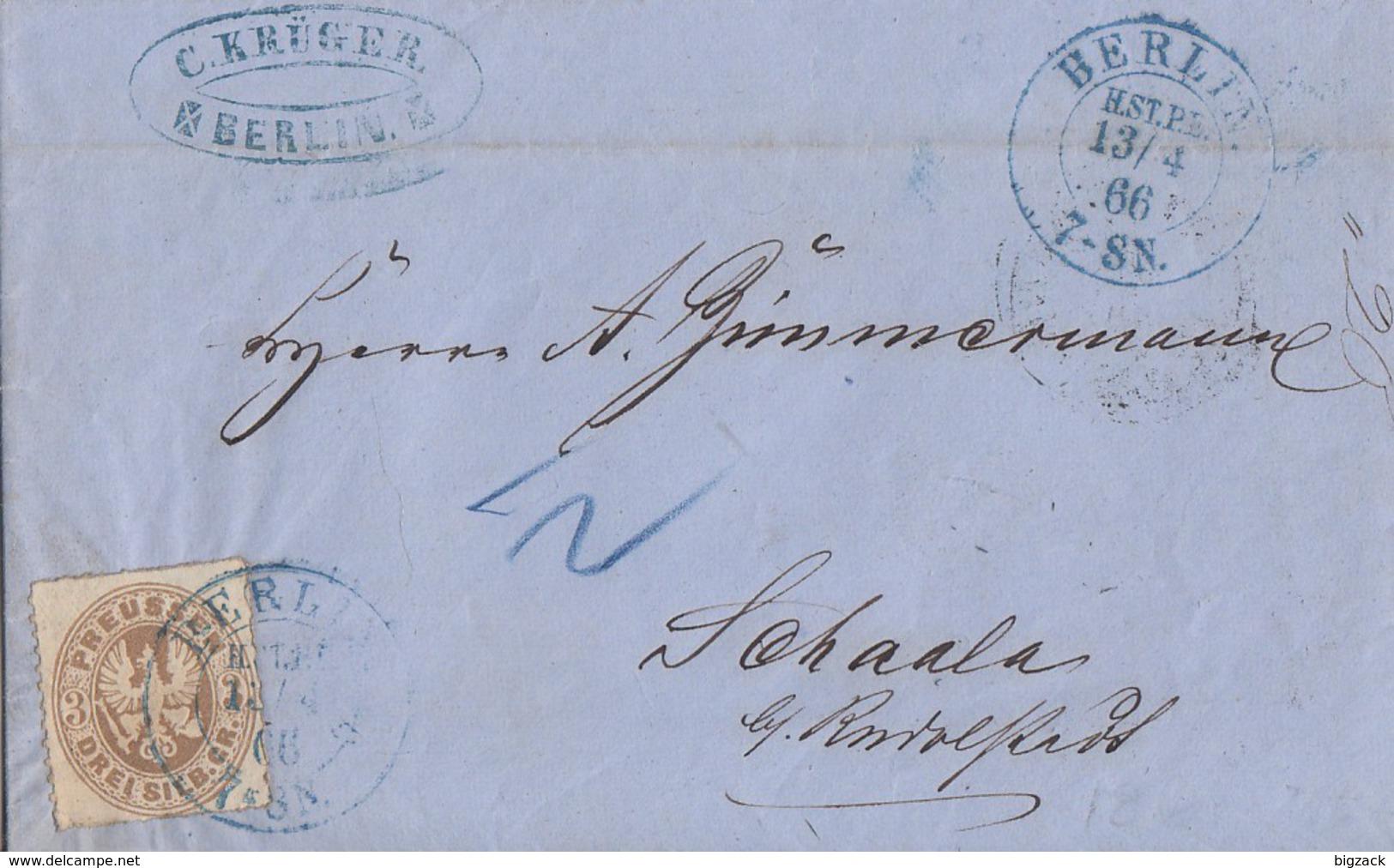 Preussen Brief EF Minr.18 Blauer R2 Berlin H.ST.PE.13.4.66 - Preussen