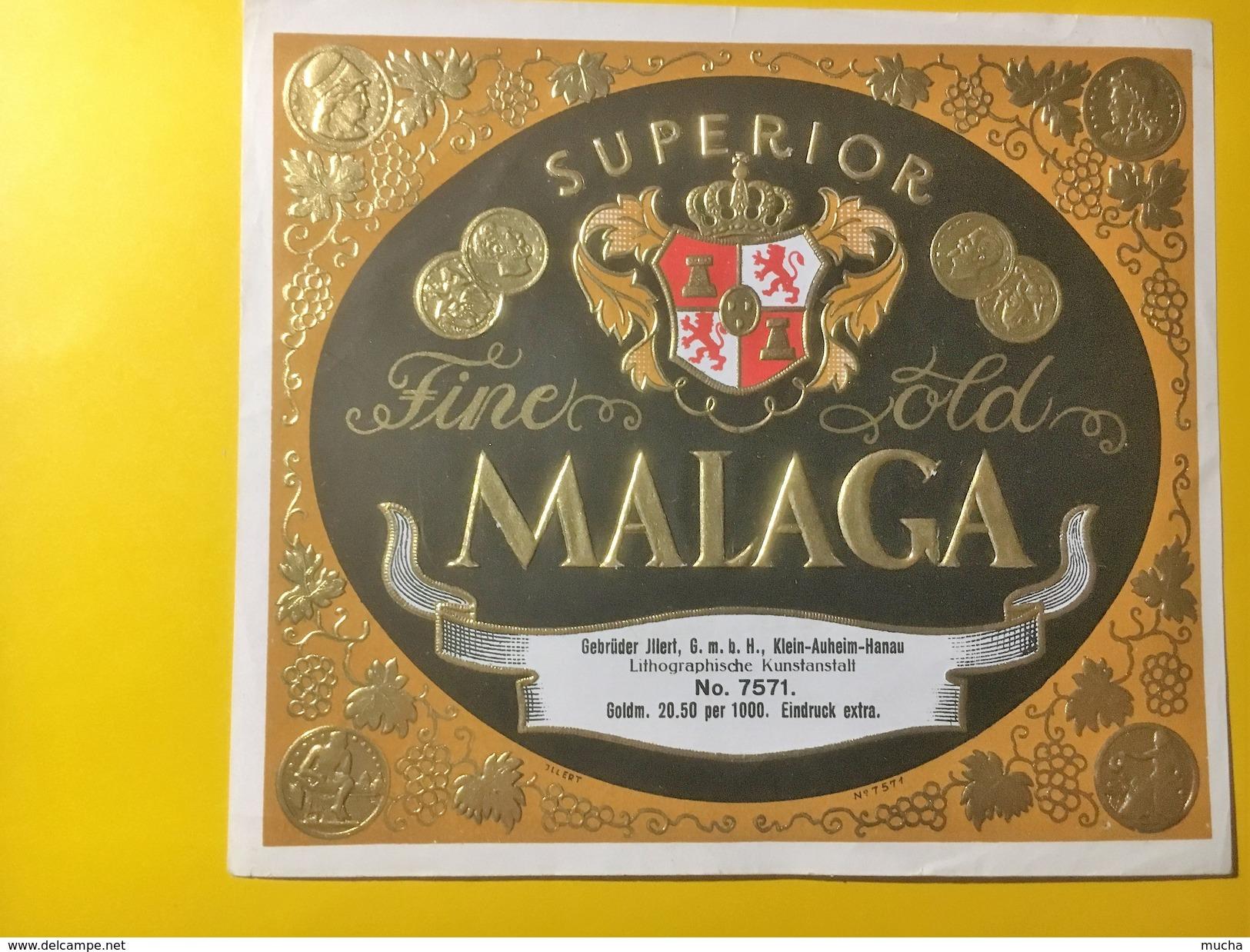 2721 - Espagne Malaga Superior Fine Old étiquette Neuve Imprimerie Allemande Vers 1910-1915 Voir Description - Etiquettes