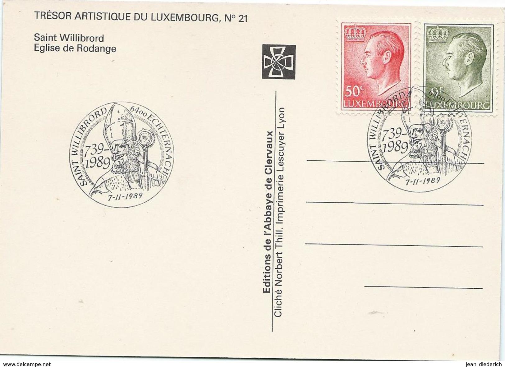 Luxemburg (Luxembourg) - Maximumkarte - Saint Willibrord - Église De Rodange 07-11-1989 - Cartes Maximum