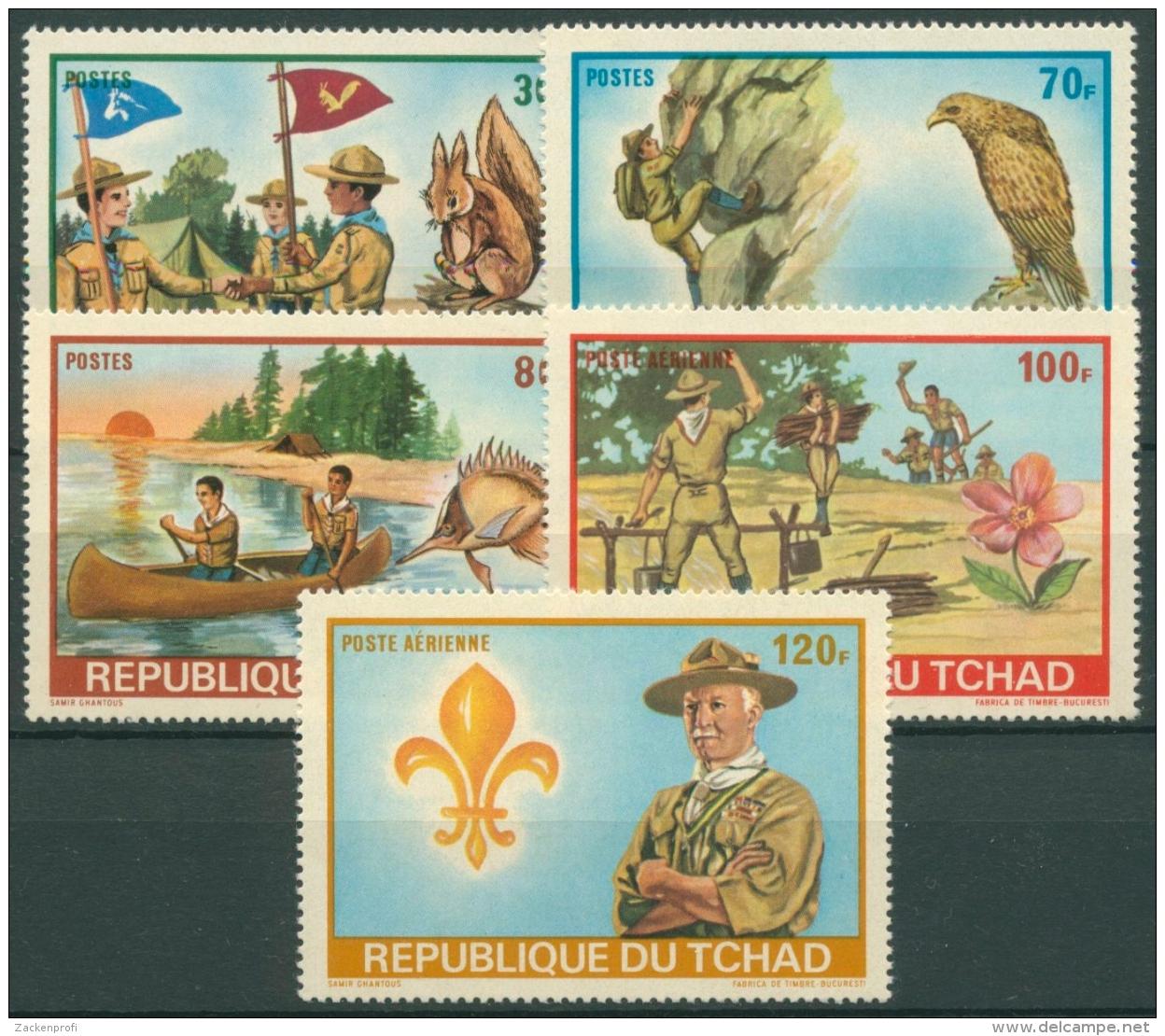 Tschad 1972 Pfadfindertreffen Tiere Eichhörnchen Fisch 528/32 A Postfrisch - Chad (1960-...)