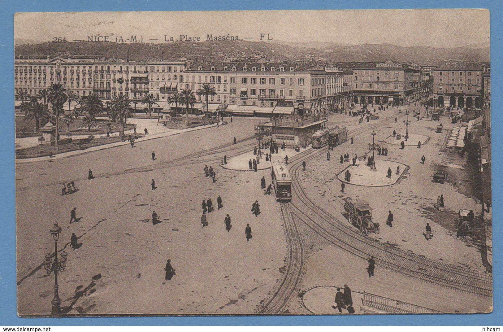 CPA Nice Place Massena Tramway Voy 1927 TB (manque TP Verso) - Plazas