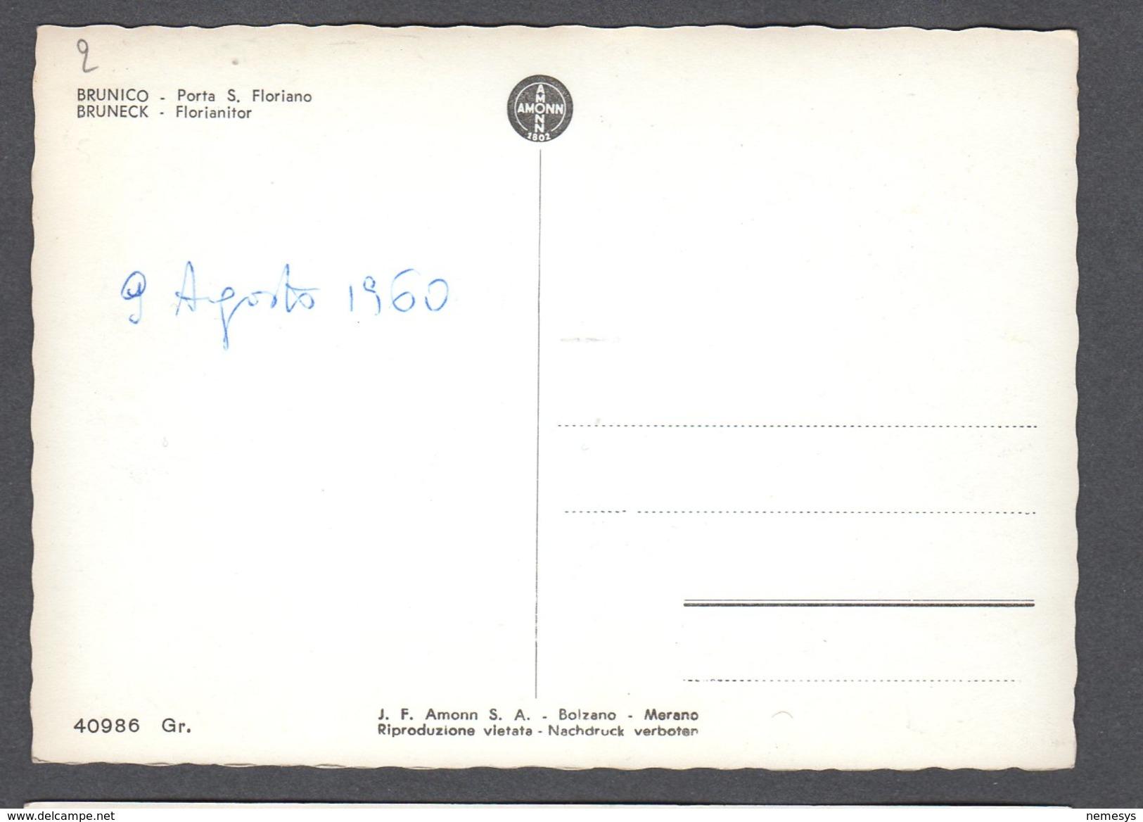 1960 BRUNICO BRUNECK PORTA SAN FLORIANO FG NV SEE 2 SCANS ANIMATA GIORNALAIO GELATI DROGERIE ZIEGLAUER - Altre Città