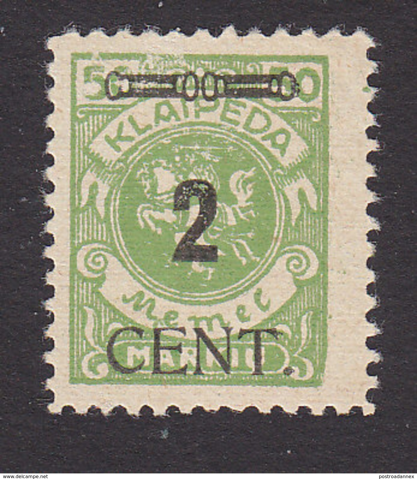 Memel, Lithuanian Occupation, Scott #N62, Mint Hinged, Vytis Surcharged, Issued 1923 - Memel (1920-1924)
