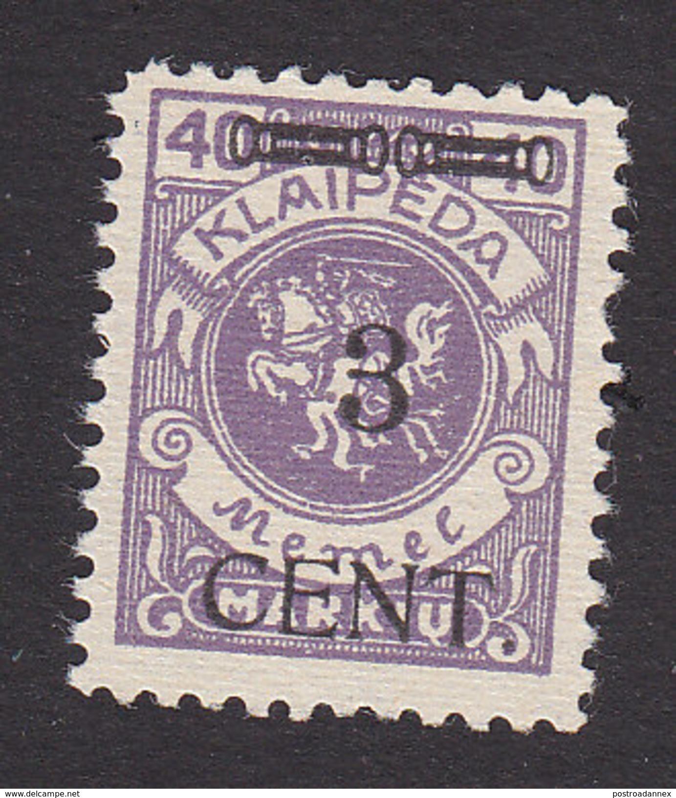 Memel, Lithuanian Occupation, Scott #N53, Mint No Gum, Vytis Surcharged, Issued 1923 - Memel (1920-1924)