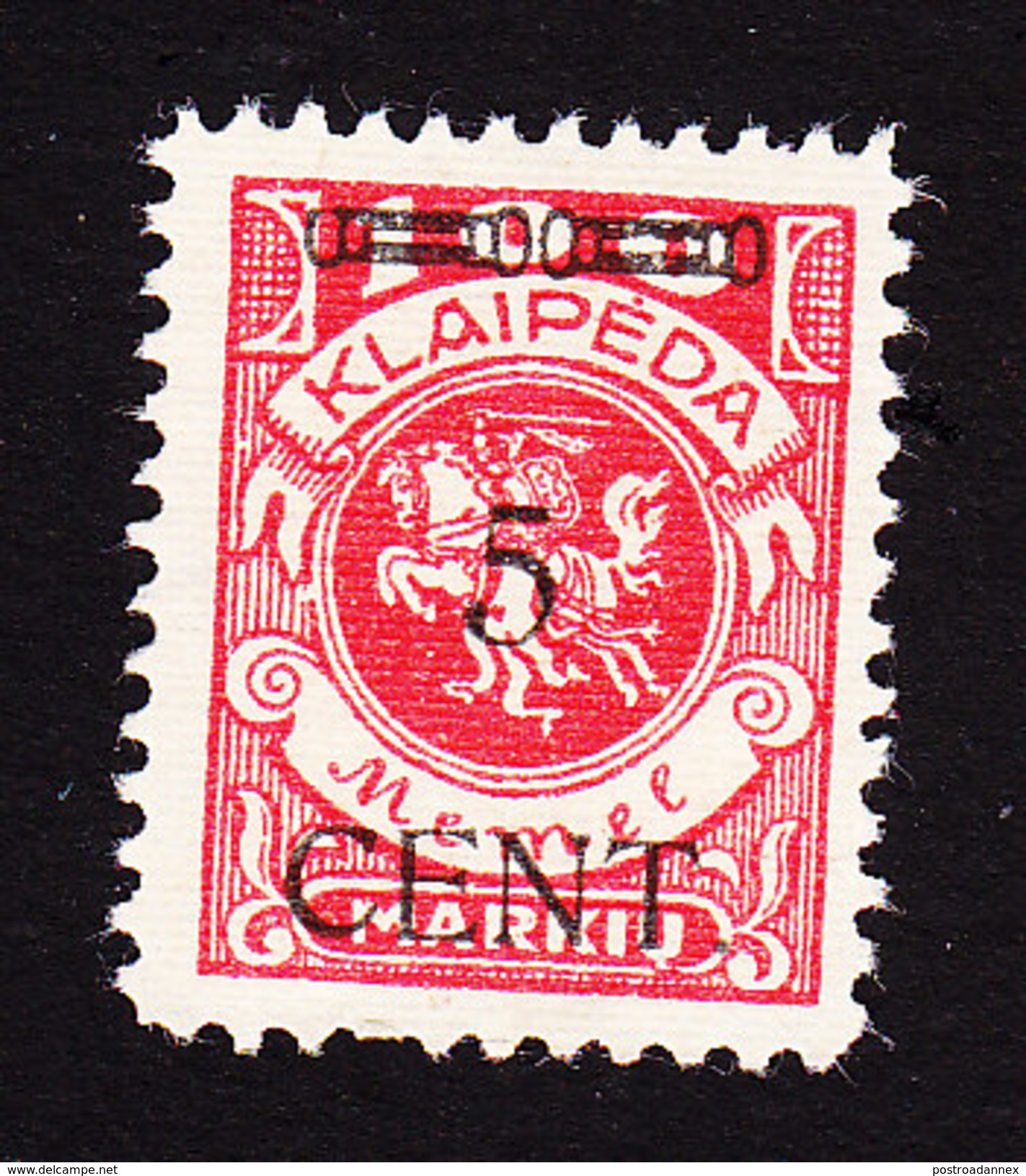 Memel, Lithuanian Occupation, Scott #N55, Mint Hinged, Vytis Surcharged, Issued 1923 - Memel (1920-1924)