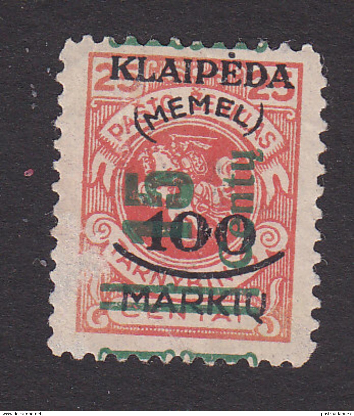 Memel, Lithuanian Occupation, Scott #N88, Mint No Gum, Vytis Surcharged, Issued 1923 - Memel (1920-1924)