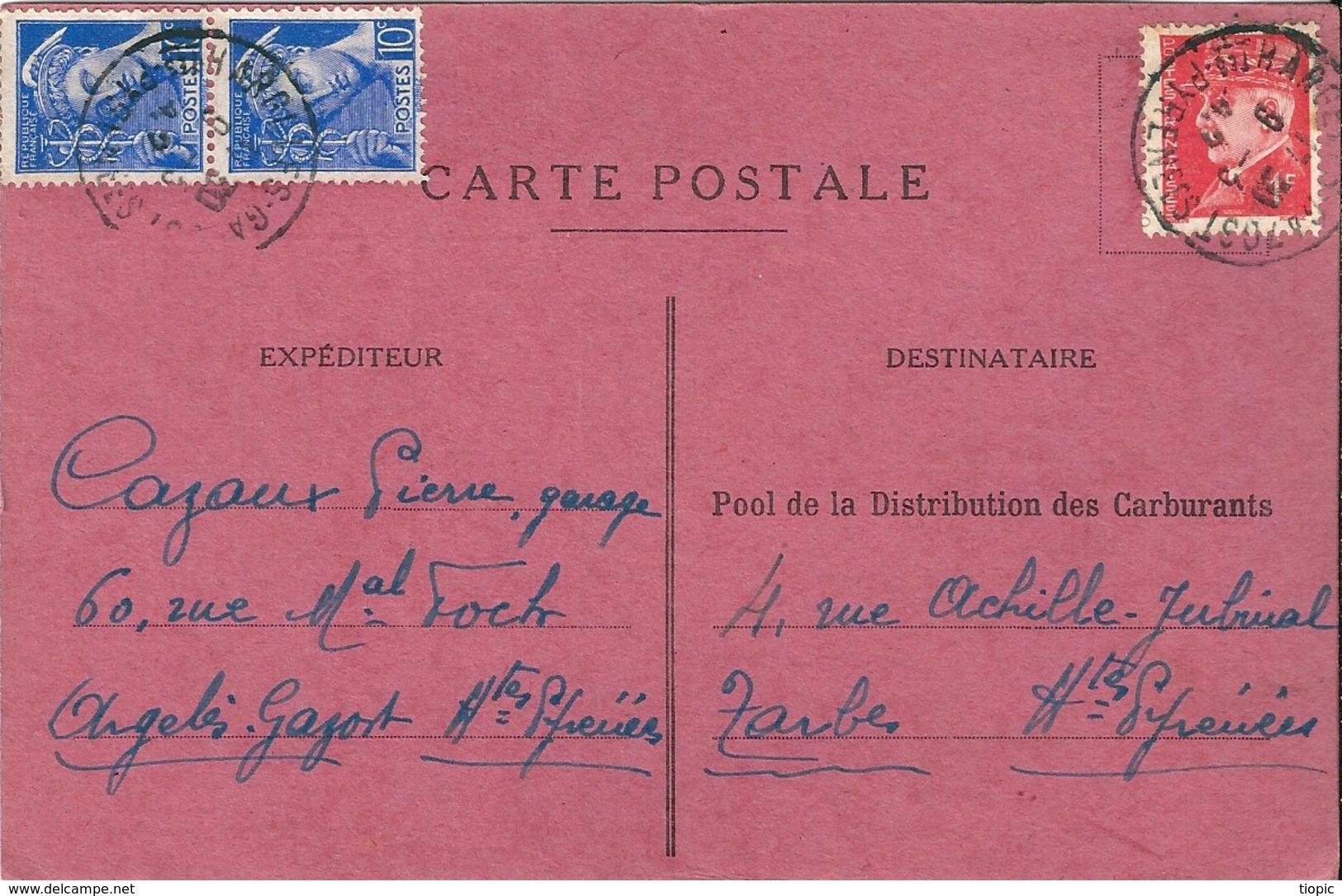 Carte  Postale   -    Pool  De  La  Distribution  Des  Carburants  En  1940         £ - Cartes