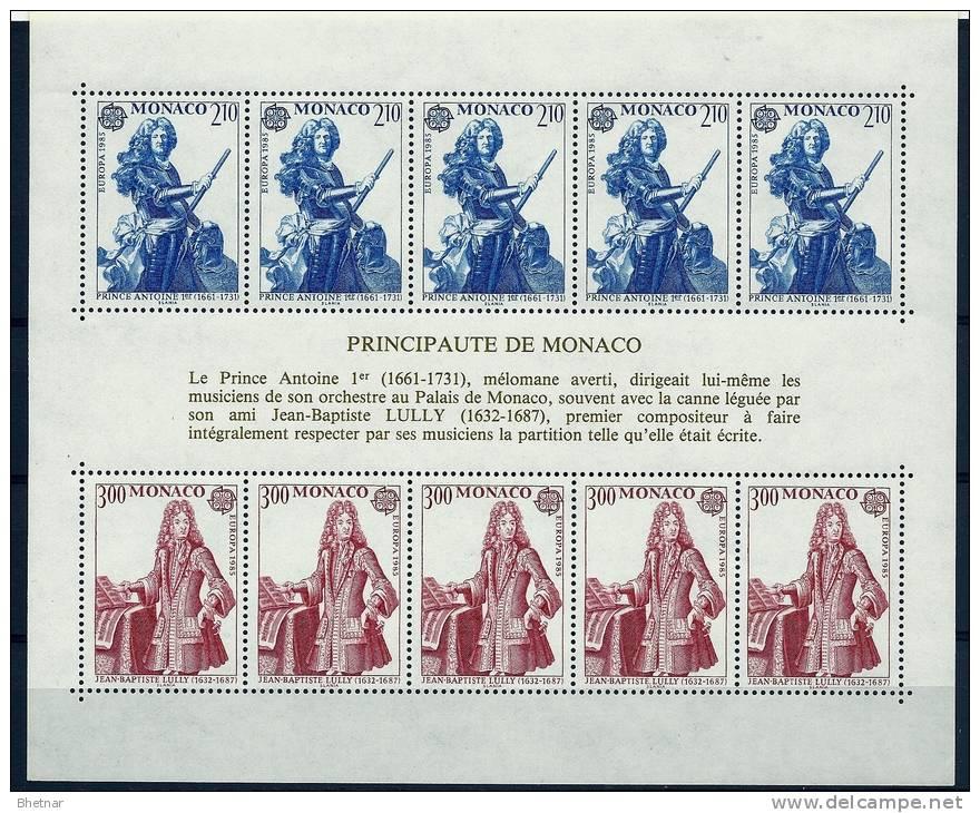 """Monaco Bloc YT 30 """" Europa, Prince Antoine Et JB Lully """" 1985 Neuf** - Blokken"""