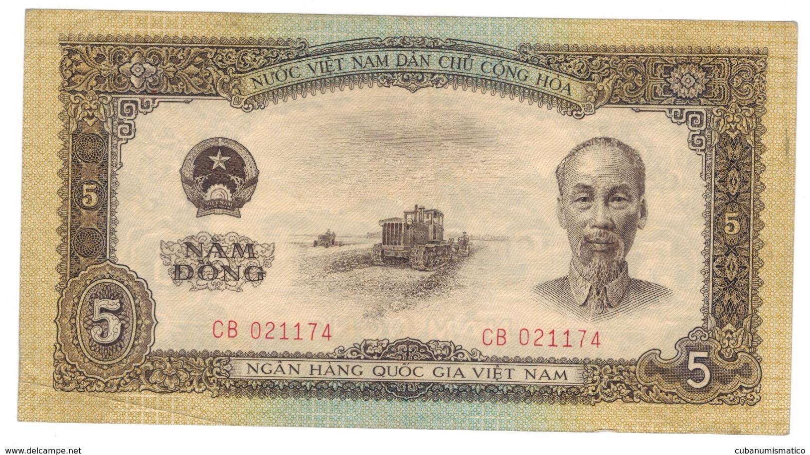 Viet Nam, 5 Dong, 1958 , VF+. Free Ship. To USA. - Vietnam