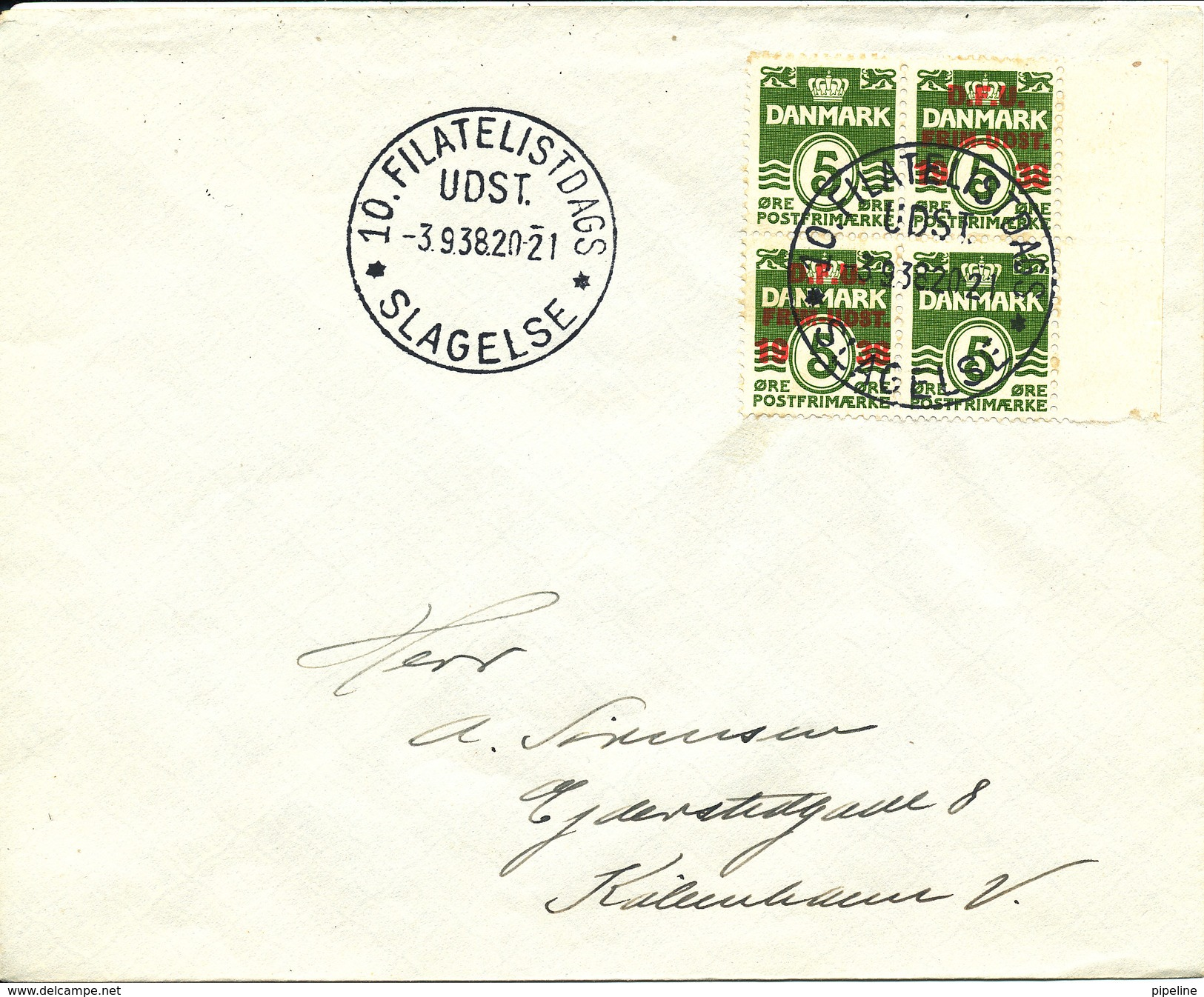 Denmark Cover Stamp Exhibition 3-9-1938 Slagelse With The Good Block Of 4 DFU - Expositions Philatéliques