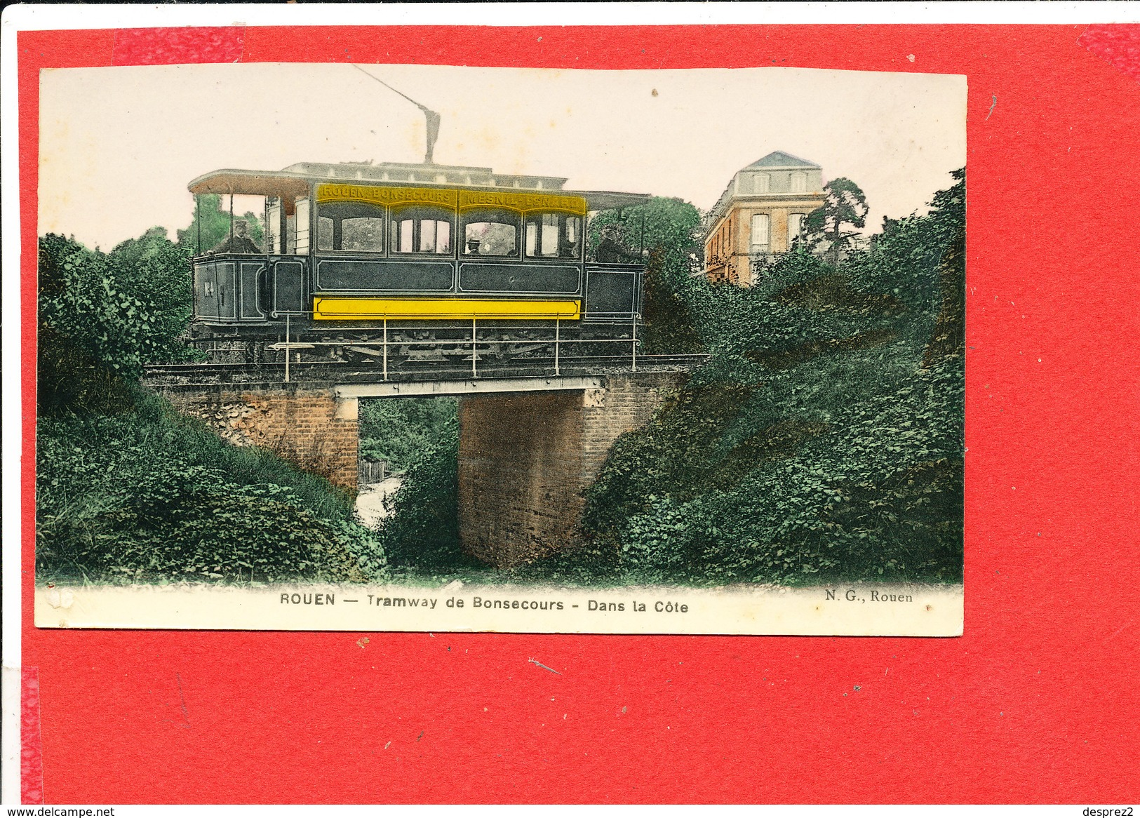 76 ROUEN Cpa Animée Le Tramways De Bonsecours Dans La Cote Edit N G - Rouen