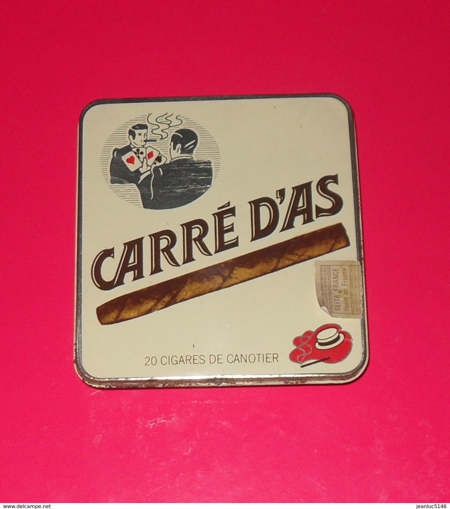Boîte Métallique. Carré D'as. Cigares De Canotier, SEITA, Années 1960-1970. - Cigar Cases