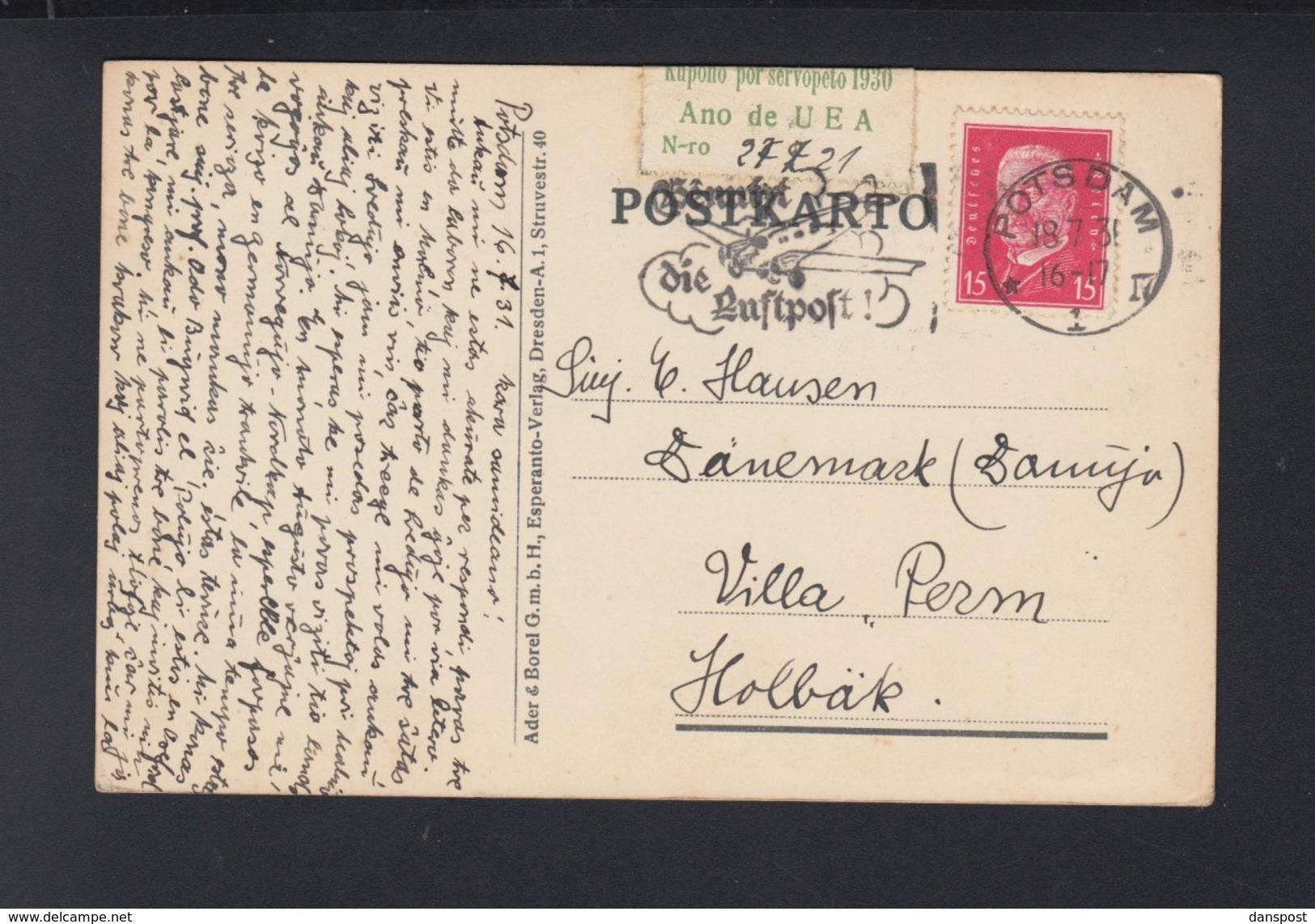 Dt. Reich PK Esperanto 1931 Potsdam Nach Dänemark - Esperanto