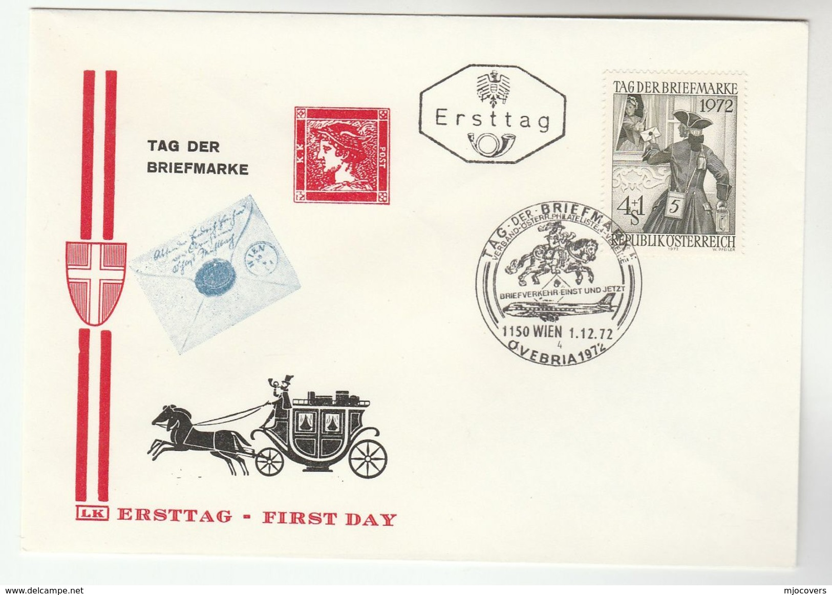 1972 AUSTRIA FDC STAMP DAY Stamps SPECIAL Pmk OVEBRIA , JET AIRCRAFT HORSE  Aviation Cover - FDC