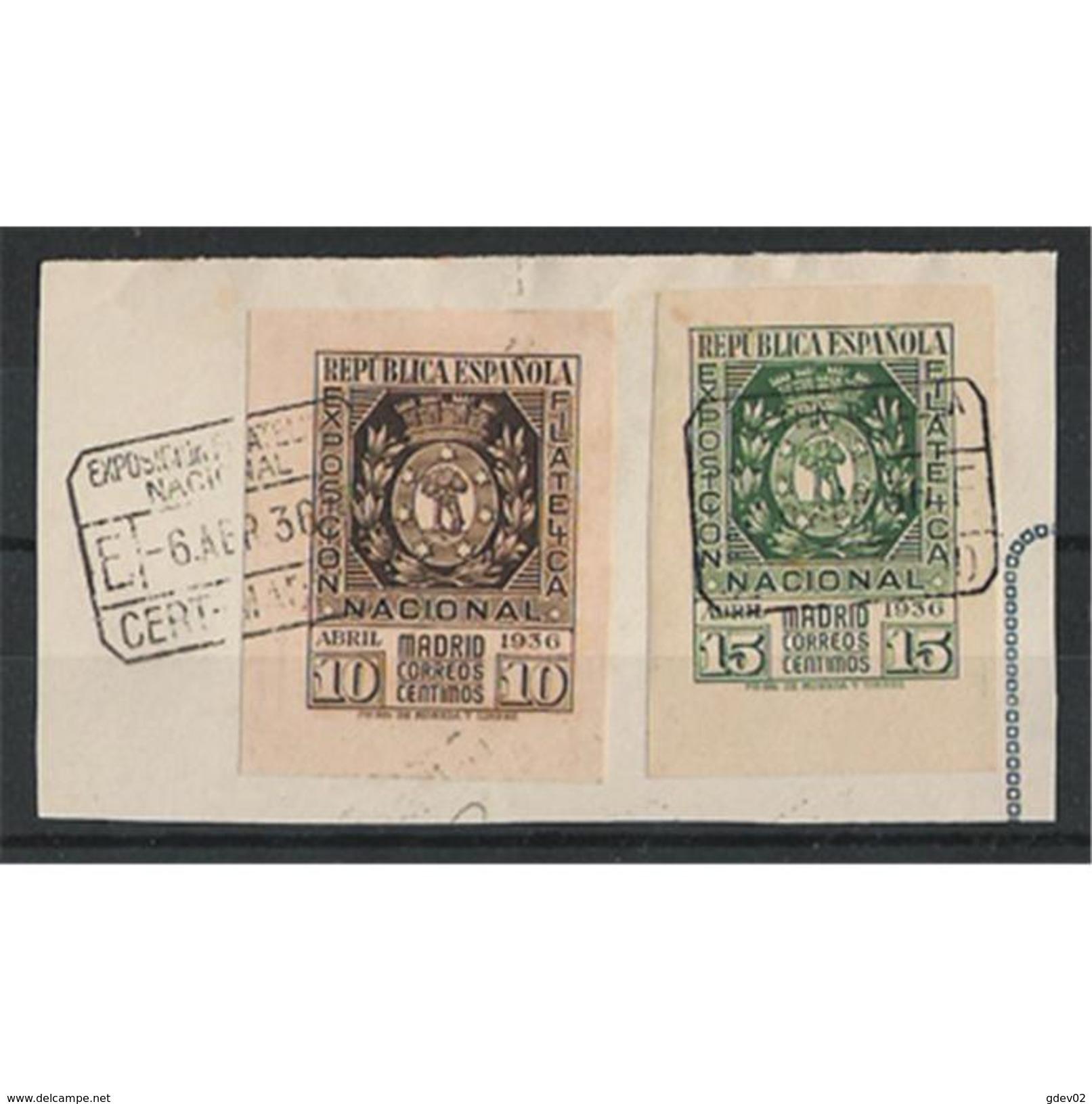 ES727STVCPA-LFTU727/8TES.España. Spain.Espagne.Escudo.EXPOSICION FILATELICA DE MADRID.1936/8.( Ed 727/28º) - Sellos