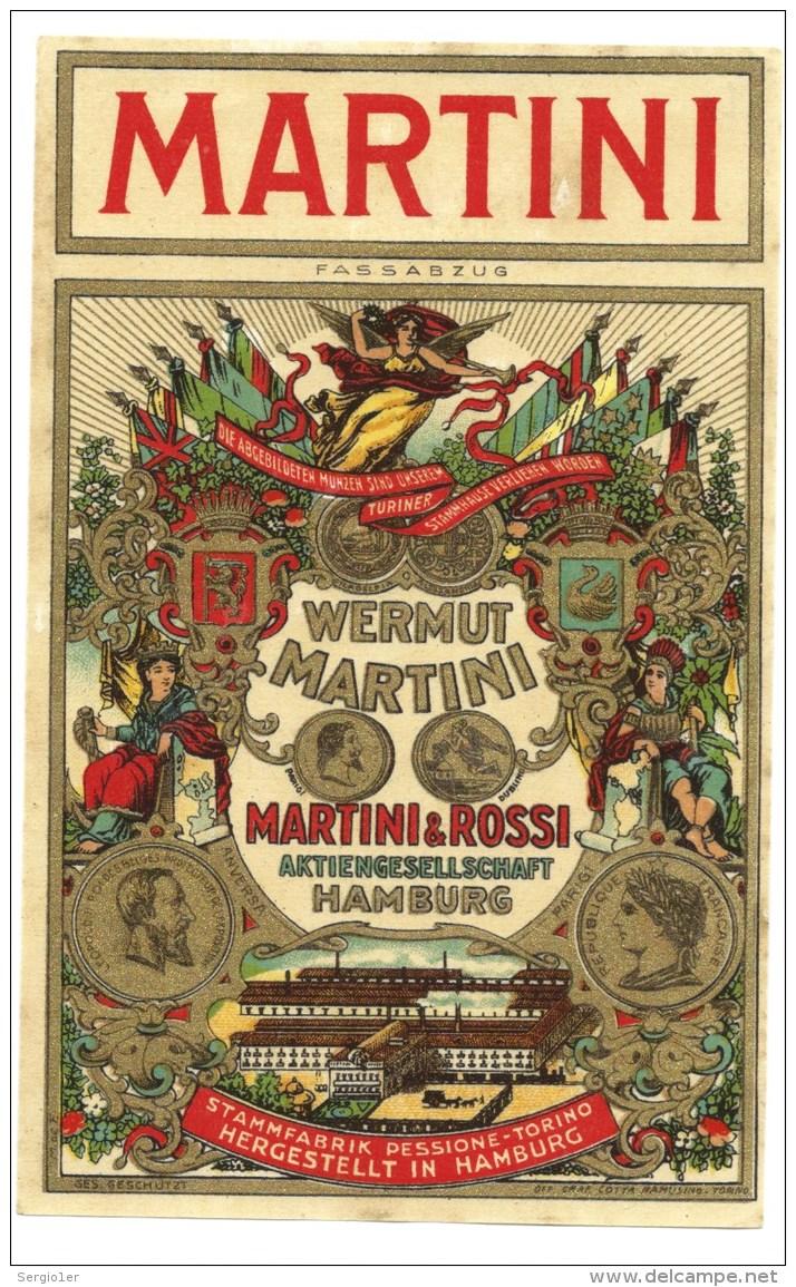"Ancienne étiquete  Vermouth Martini & Rossi  Torino  étiquette Allemande Vers 1930 ""Hambourg"" - Etiquettes"