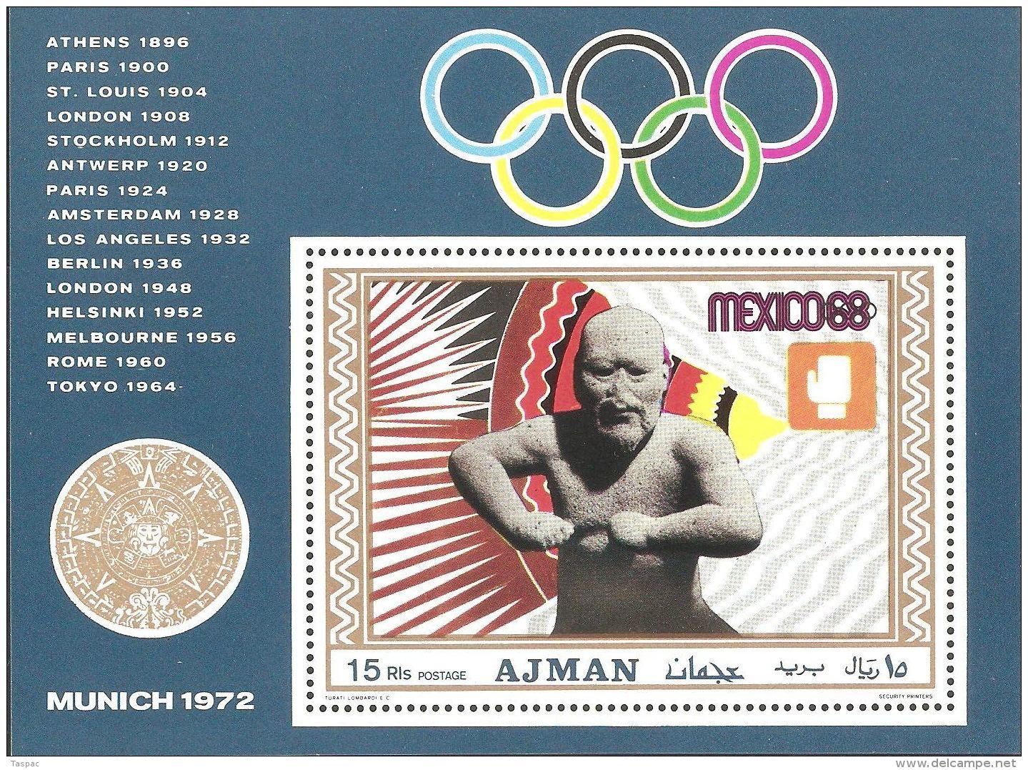Ajman 1969 Mi# Block 98 A ** MNH - Boxing / Summer Olympics, Mexico '68 - Sommer 1968: Mexico
