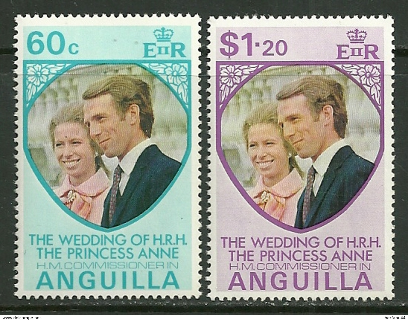 "Anguilla    ""Princess Anne´ S Wedding""   Set    SC# 179-80  MNH** - Anguilla (1968-...)"