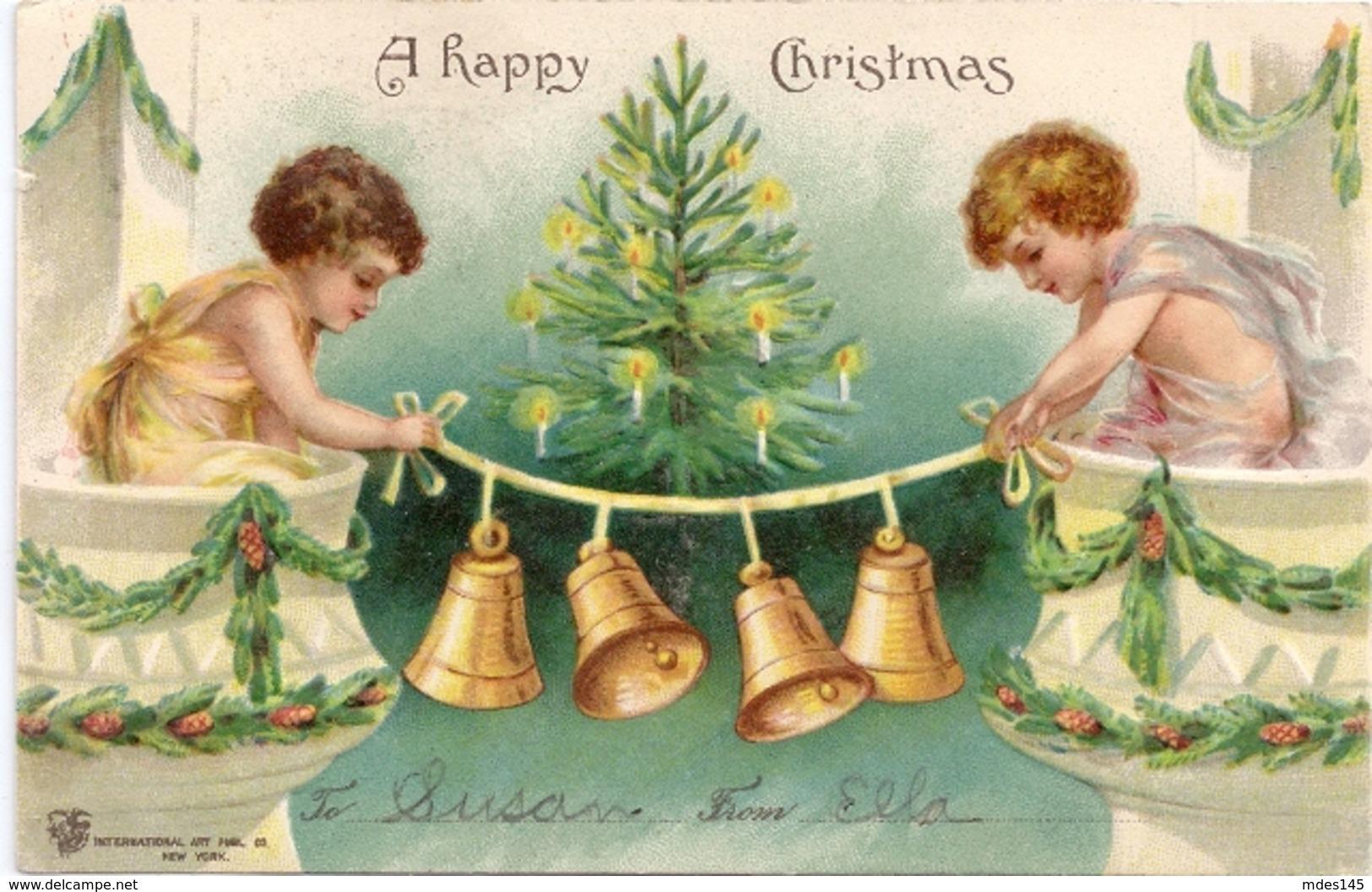 Vintage Christmas Postcard Children Hanging Bells 1906 Embossed  IAP UND - Other