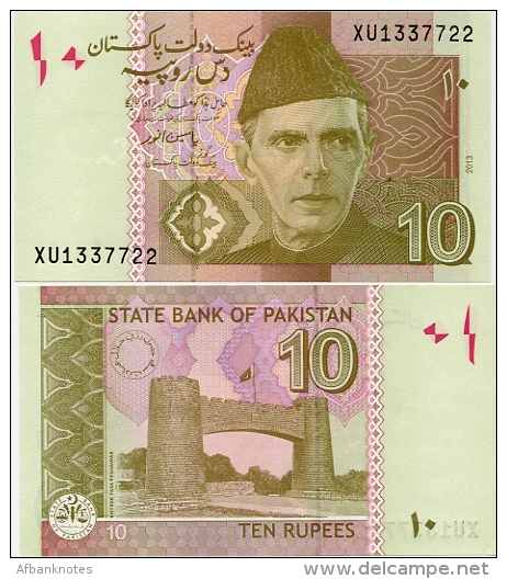 PAKISTAN       10 Rupees        P-45h         2013        UNC  [sign. Yaseen Anwar] - Pakistan