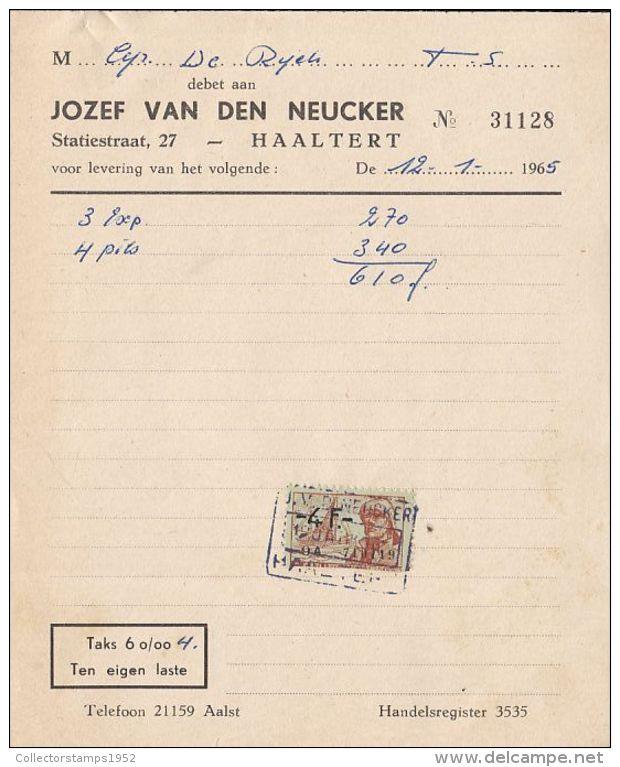 4739FM- JOZEF VAN DEN NEUCKER COMPANY HEADER INVOICE, REVENUE STAMP, 1965, BELGIUM - Belgique