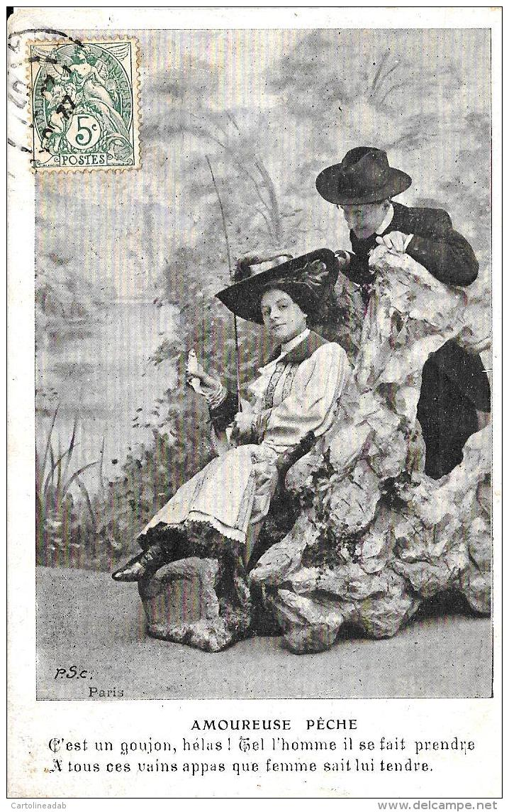 [DC3751] CPA - AMOUREUSE PECHE - Viaggiata 1907 - Old Postcard - Femmes