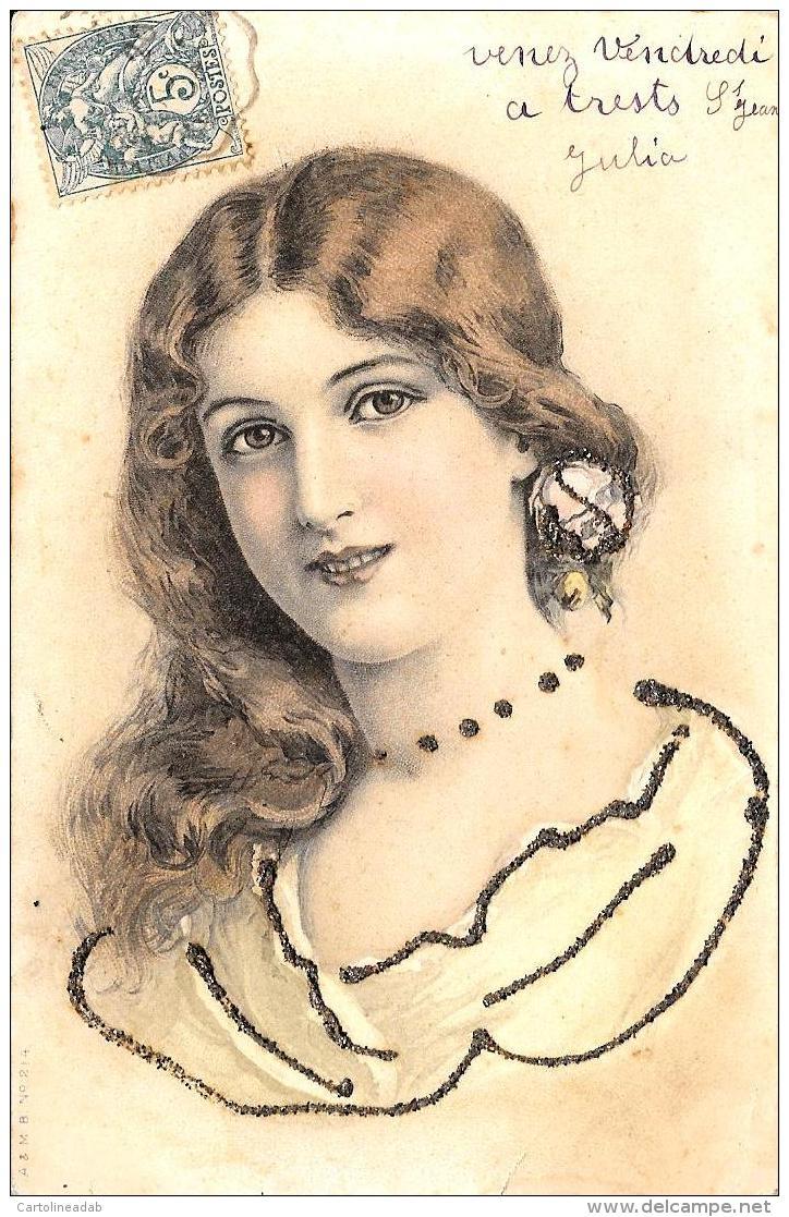[DC3770] CPA - DONNA CON BRILLANT - Viaggiata 1904 - Old Postcard - Femmes