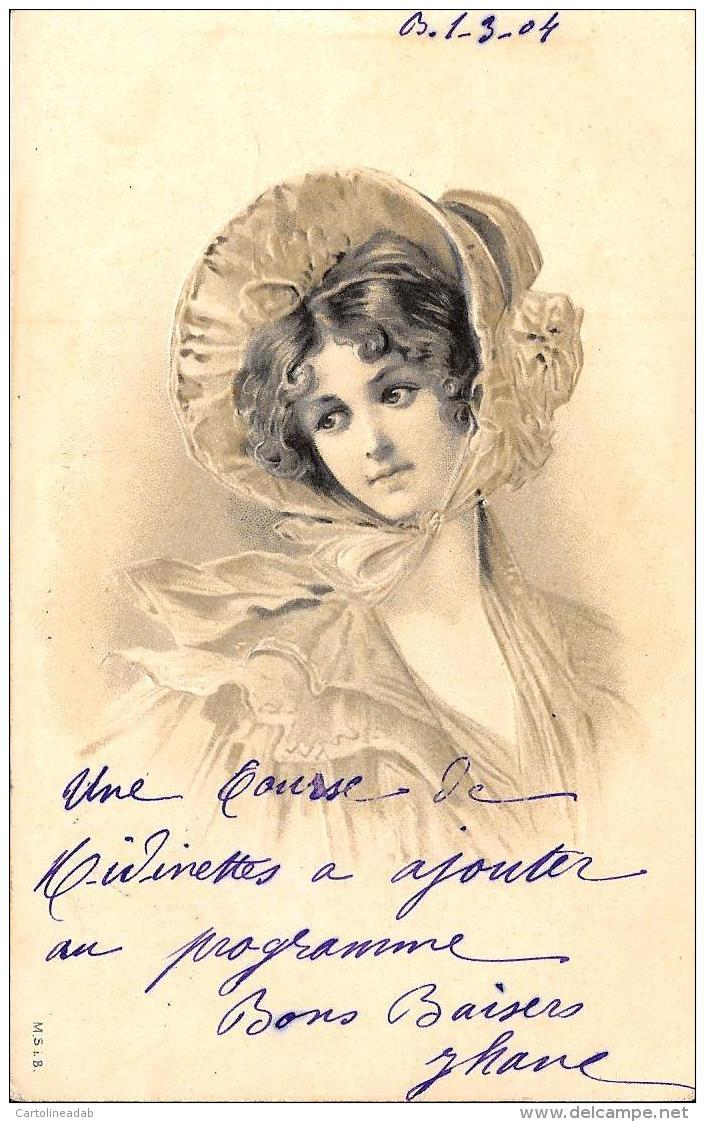 [DC3771] CPA - DONNA FEMMES - RILIEVO RELIEF - Viaggiata 1904 - Old Postcard - Femmes