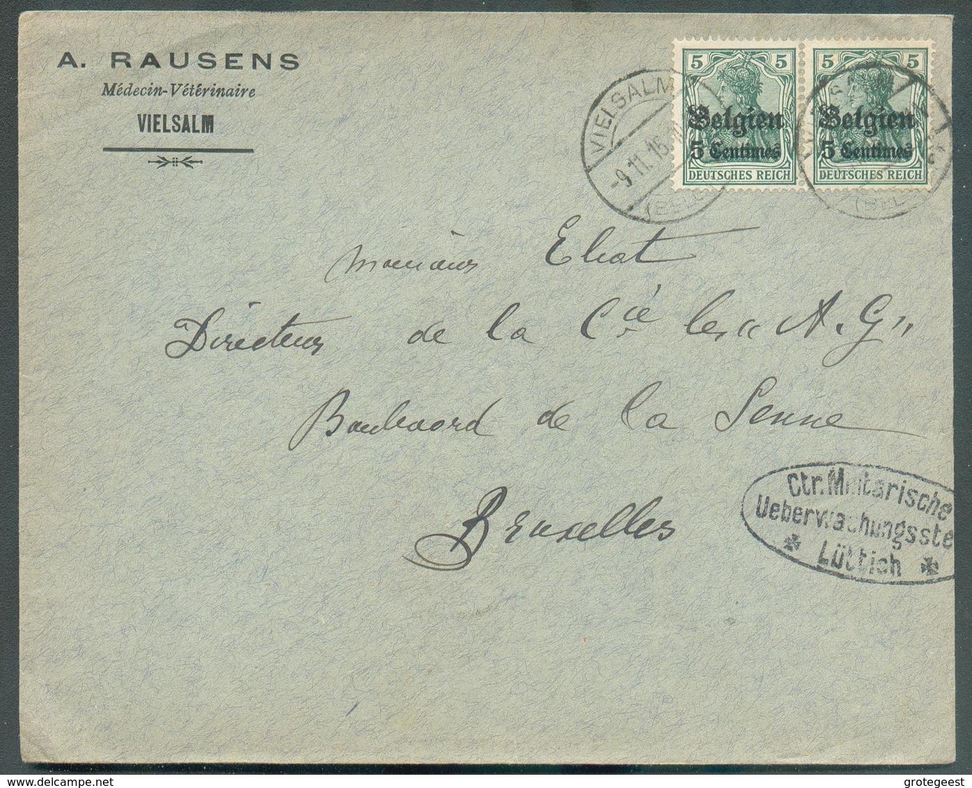 5 Centimes (x2) Obl. Cad Pont De VIELSALM Sur Lettre Du 9-XI-1915 Vers Bruxelles + Censure De LIEGE- 11540 Xpéditeur RAU - WW I