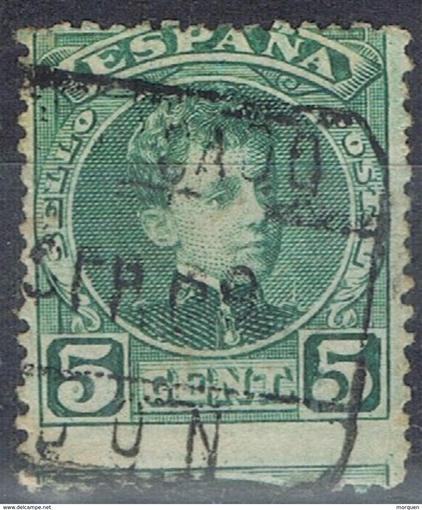 Sello 5 Cts Alfonso XIII Cadete, Variedad Salto De Peine, Descentrado, Fechador Certificado GIJON (Asturia), Num 242 º - 1889-1931 Reino: Alfonso XIII