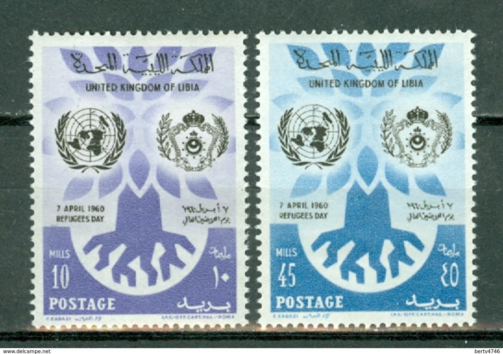 Libia 1960 Yv 175/176** - SG 240/241**   MNH - World Refugee Year - Libye