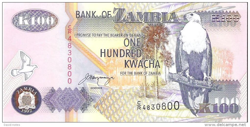 Zambia - Pick 38b - 100 Kwacha 1992 - Unc - Zambie