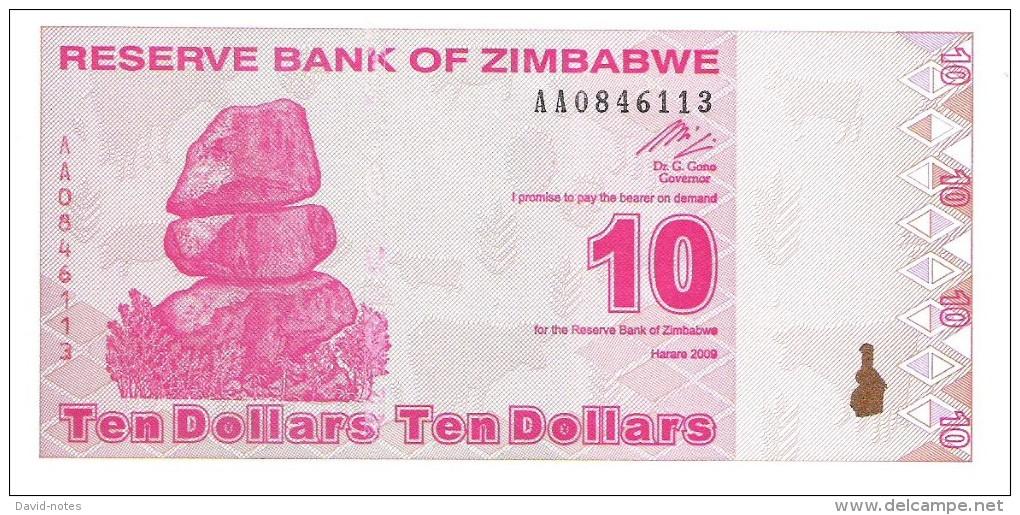 Zimbabwe - Pick 94 - 10 Dollars 2009 - Unc - Zimbabwe