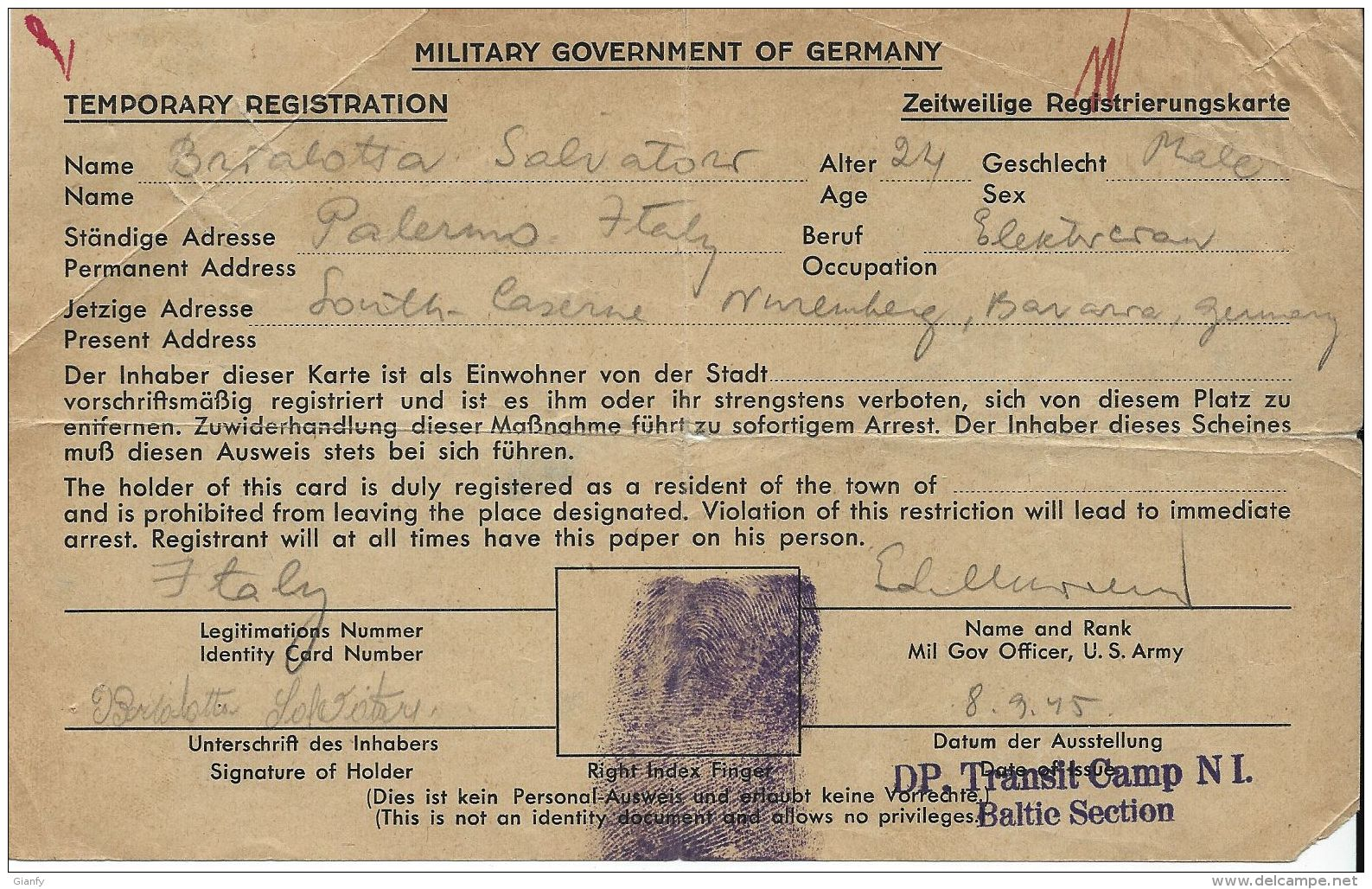 PRIGIONIERO POW PALERMO IDENTIFICATION CARD 1945 NUREMBERG GERMANIA - Militärpost (MP)