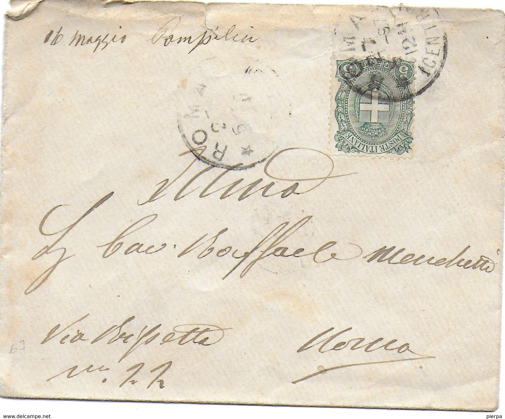 STORIA POSTALE REGNO - UMBERTO I°- BUSTINA DA ROMA 1897 - 1878-00 Umberto I