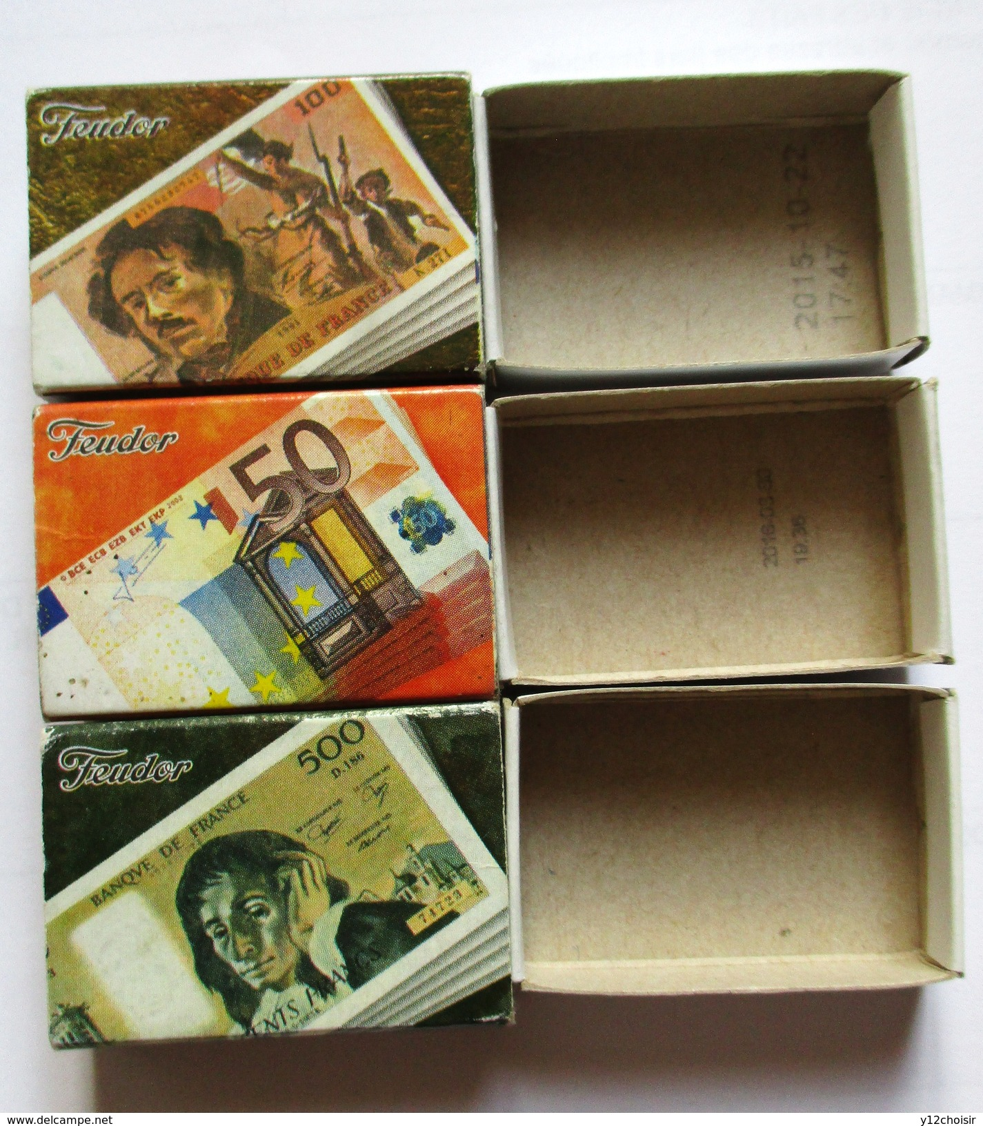 LOT DE TROIS 3 BOITES D ALLUMETTES FEUDOR BILLET DE 100 & 500 FRANCS & 50 EUROS . MONNAIE ARGENT - Monnaies & Billets