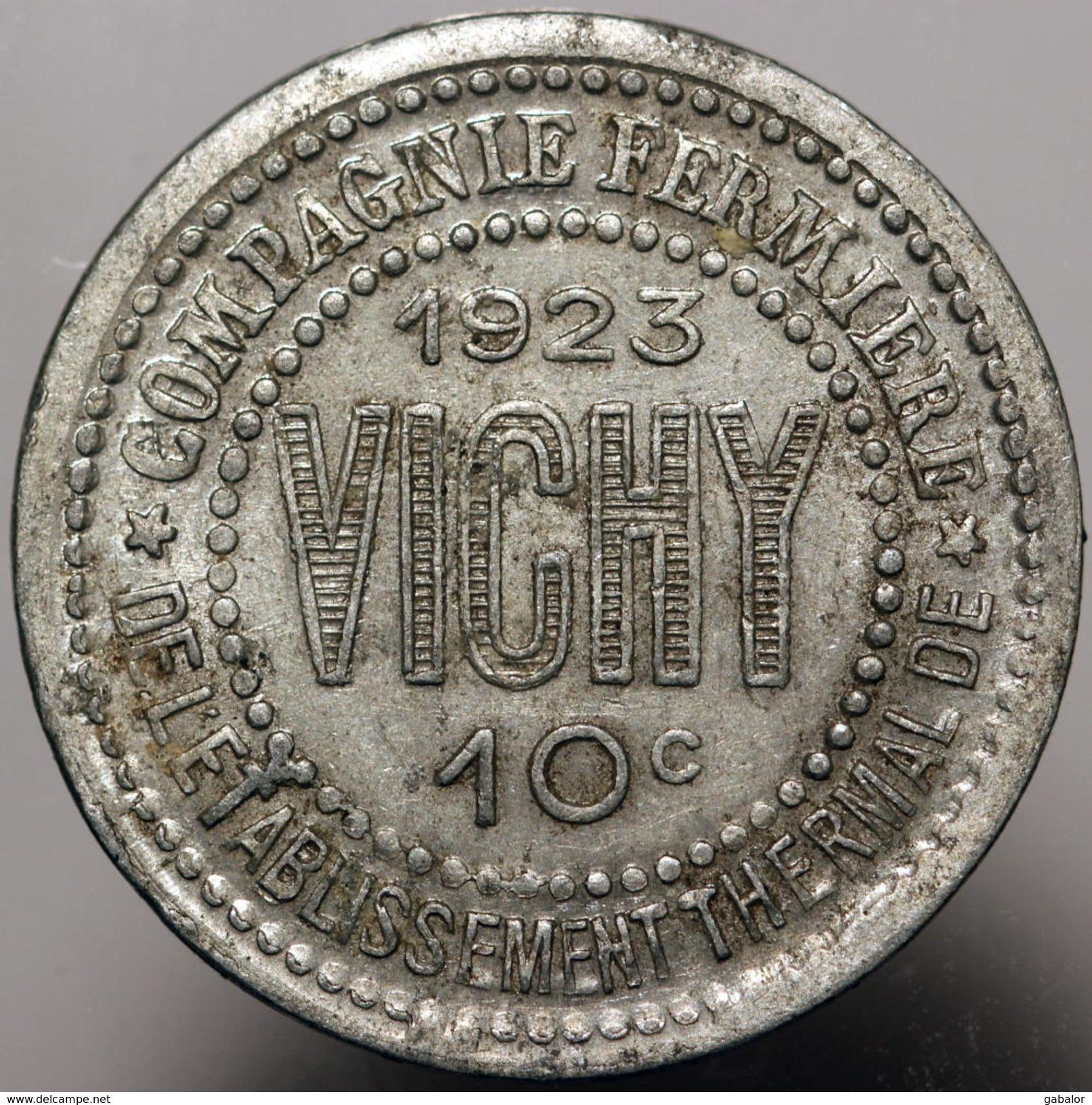 Vichy, Compagnie Fermière De L'Etablissement Thermal, 10 Centimes, 1923 - Monétaires / De Nécessité