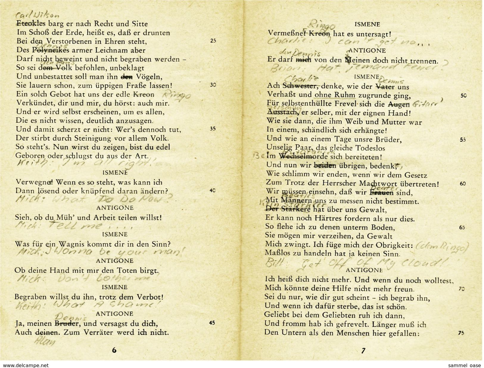 Reclam Heft  -  Antigone Tragödie  -  Von Sophokles  -  1966 - Theatre & Scripts
